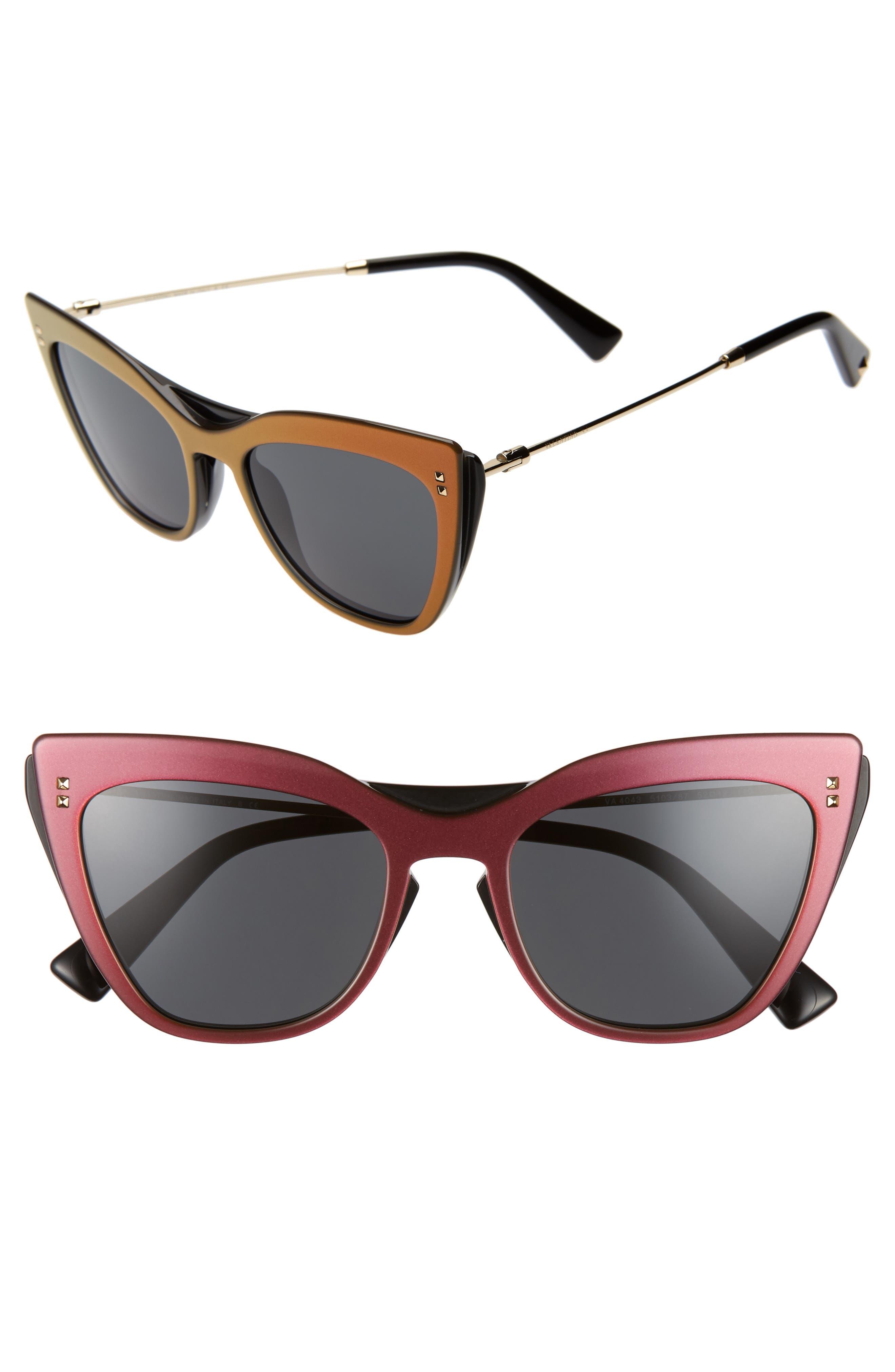 VALENTINO 52mm Cat Eye Sunglasses, Main, color, VIOLET/ BLACK SOLID