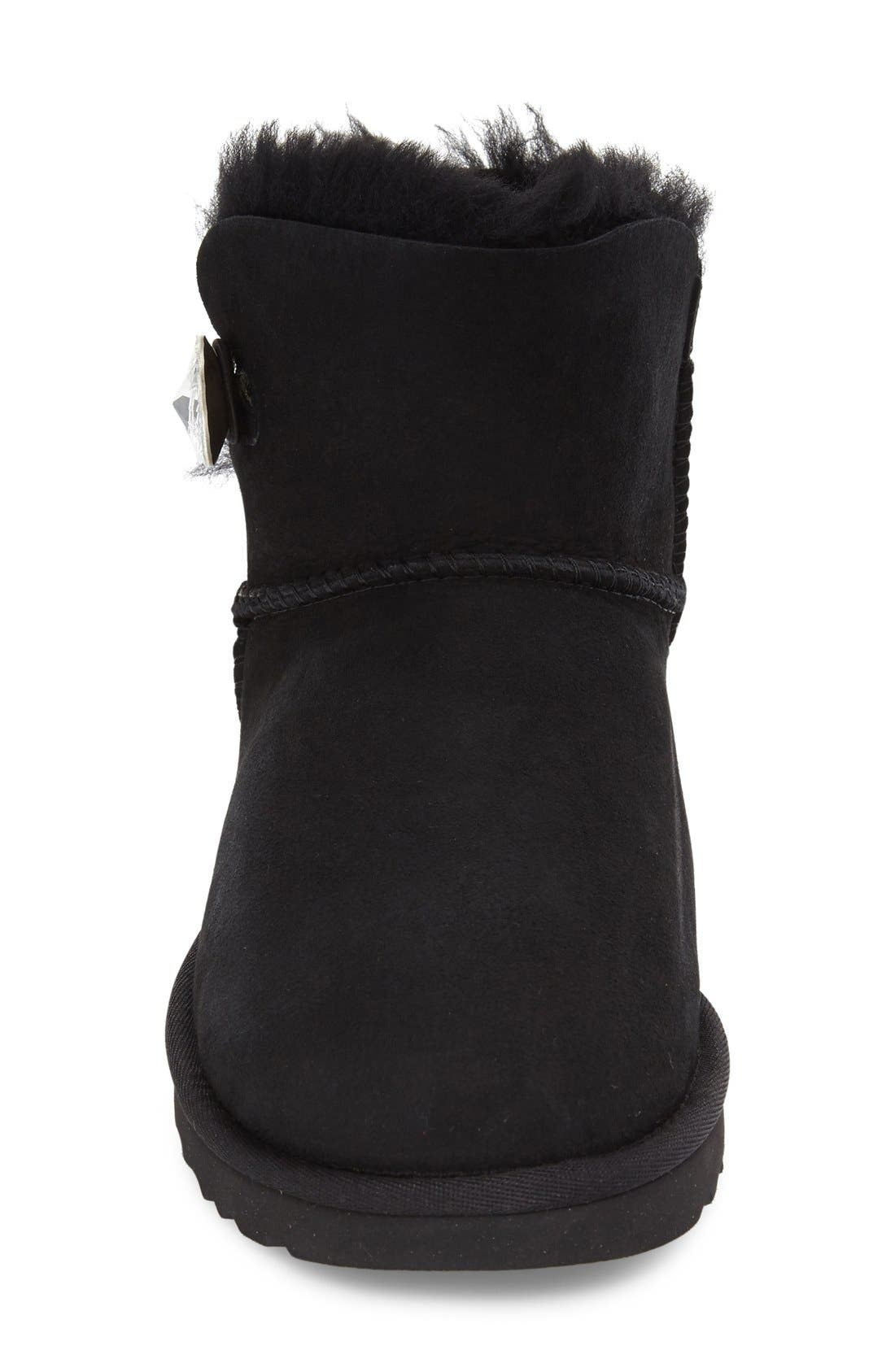 UGG<SUP>®</SUP>, Mini Bailey Button Bling Boot, Alternate thumbnail 3, color, BLACK SUEDE