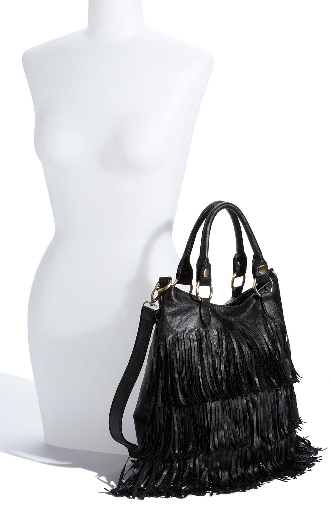 TOP CHOICE, Fringed Crossbody Tote, Alternate thumbnail 2, color, 001
