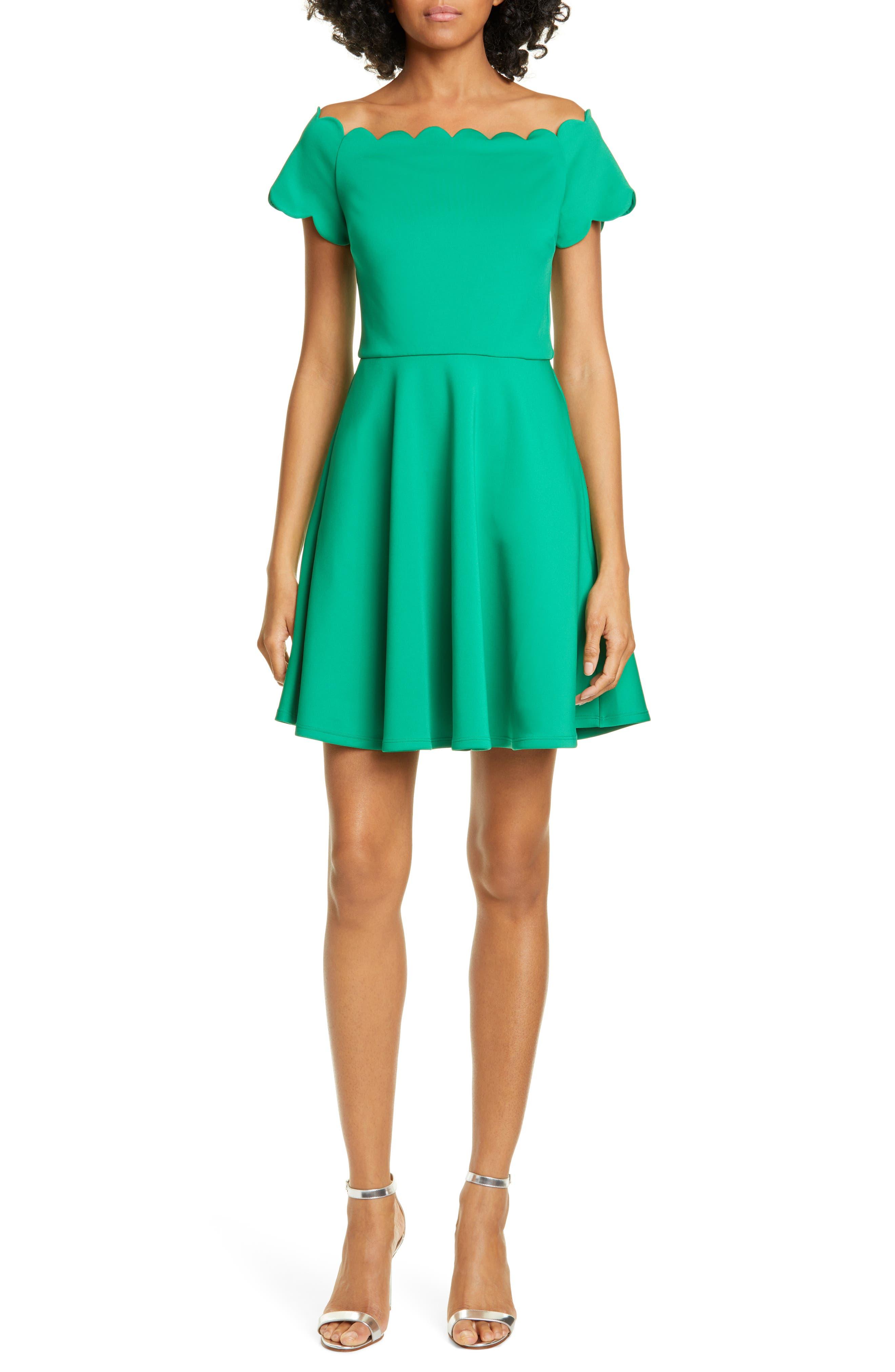 Ted Baker London Scallop Detail Skater Dress, Green