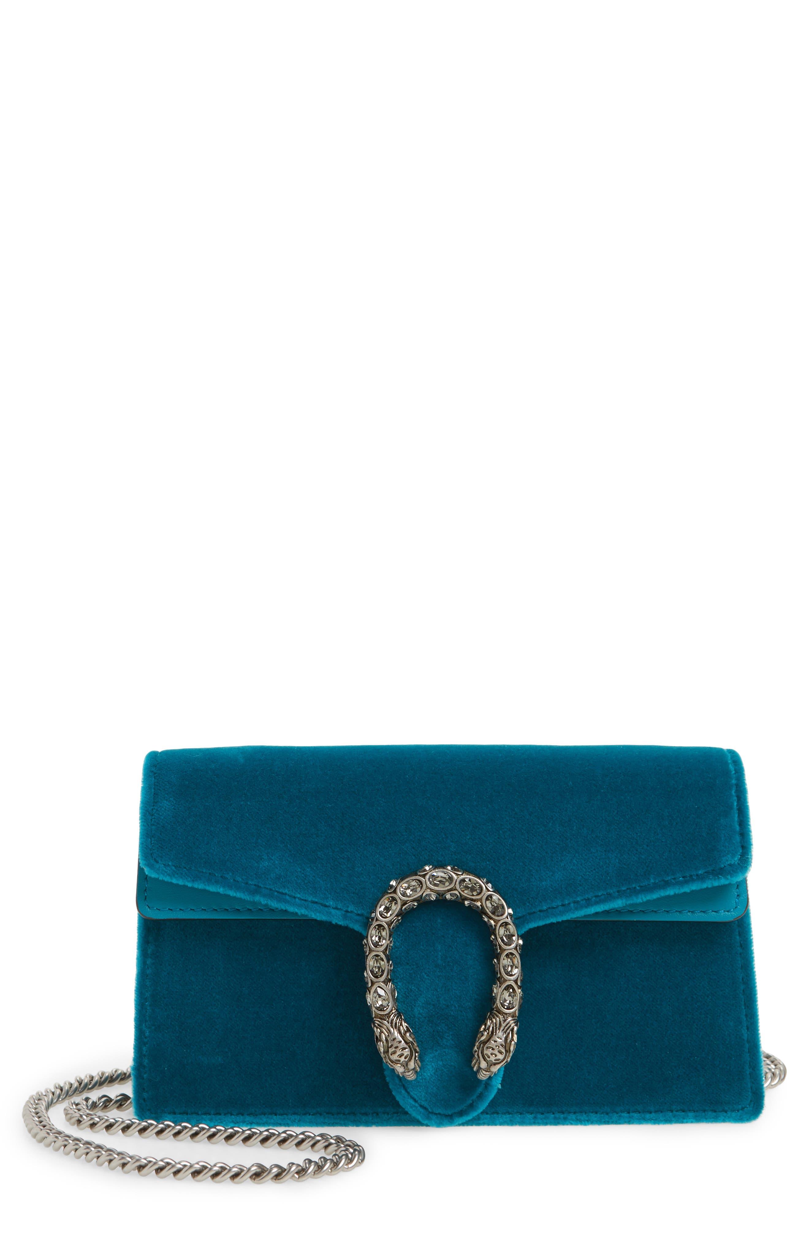 GUCCI Super Mini Dionysus Velvet Shoulder Bag, Main, color, PIVONE