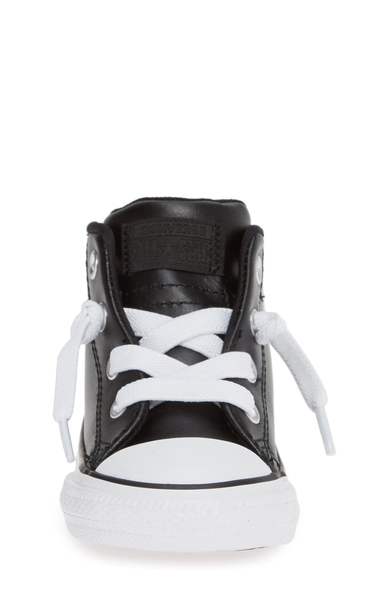 CONVERSE, Chuck Taylor<sup>®</sup> All Star<sup>®</sup> Street Mid Top Sneaker, Alternate thumbnail 4, color, BLACK/ BLACK/ WHITE
