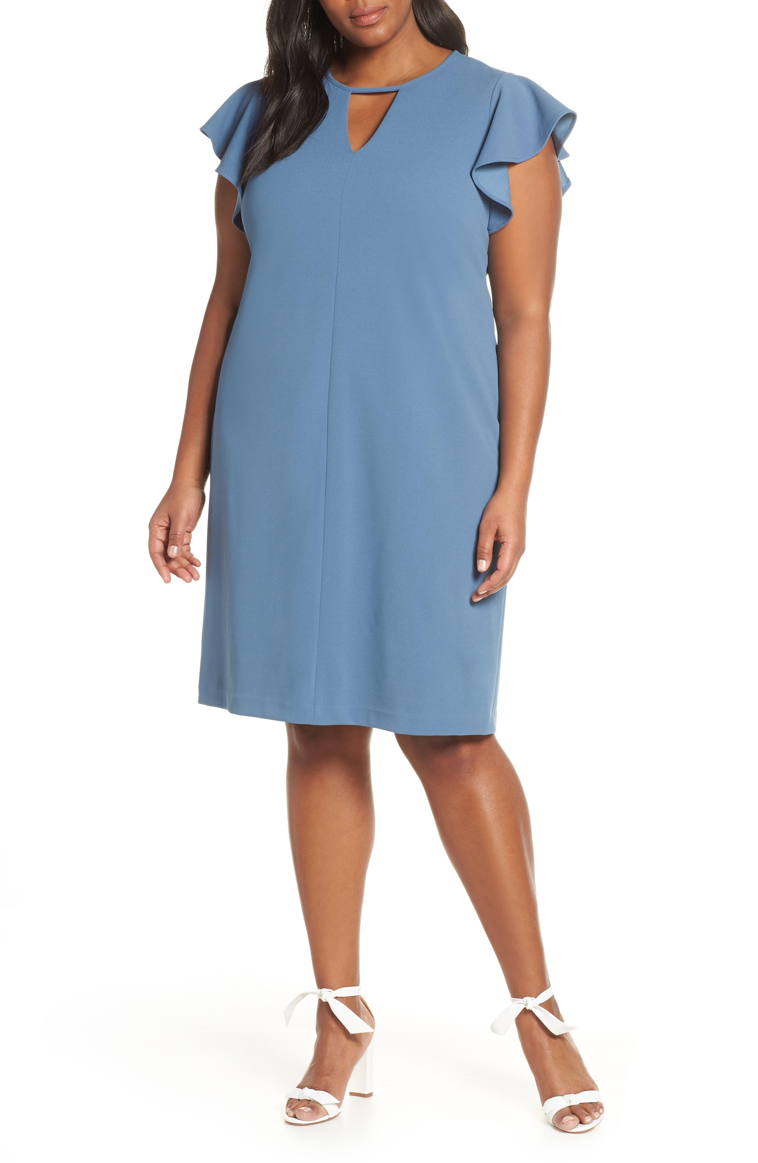 Plus Size Vince Camuto Flutter Sleeve Ponte Sheath Dress, Blue