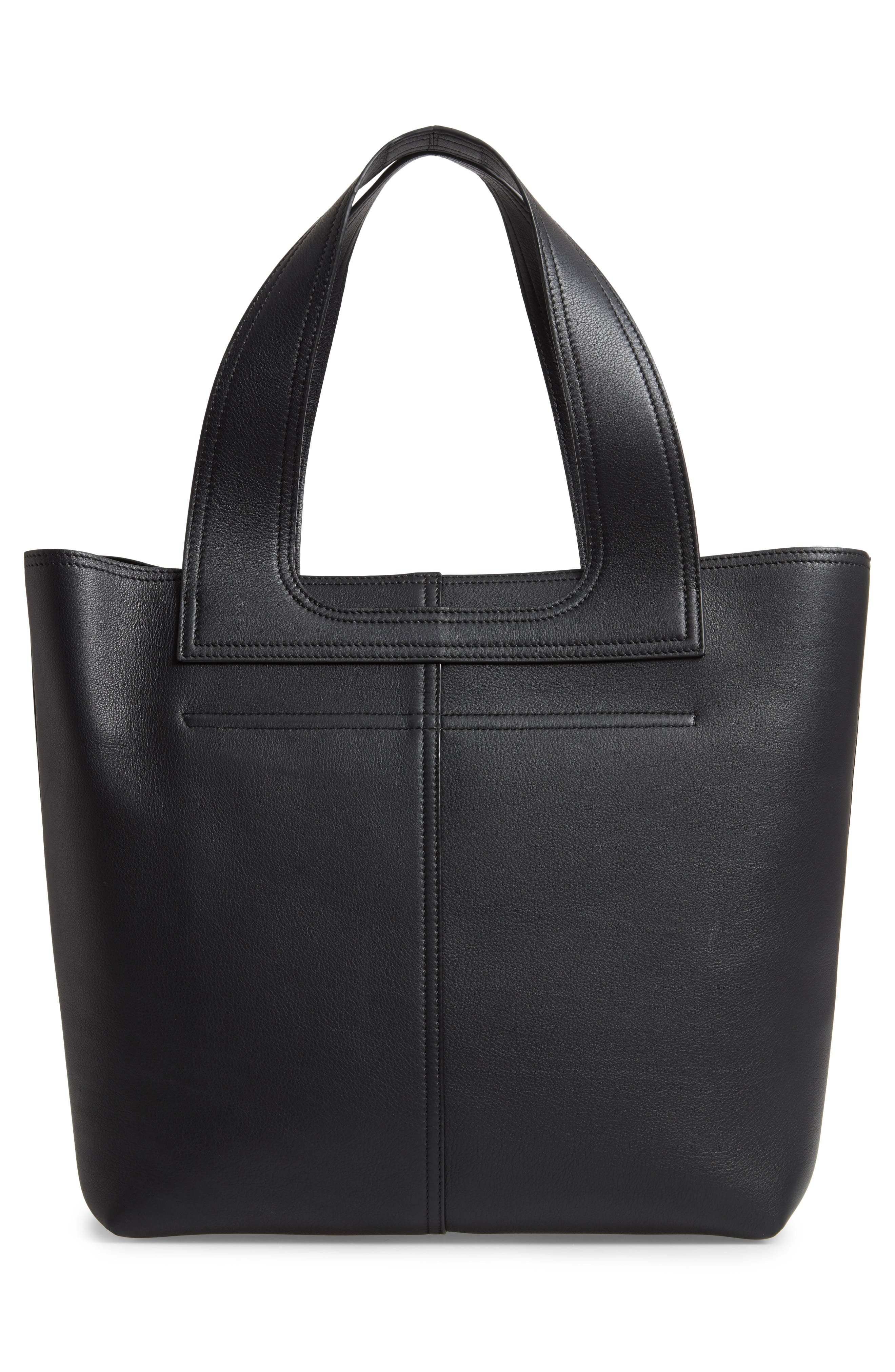 VICTORIA BECKHAM, Apron Leather Tote, Alternate thumbnail 3, color, 001