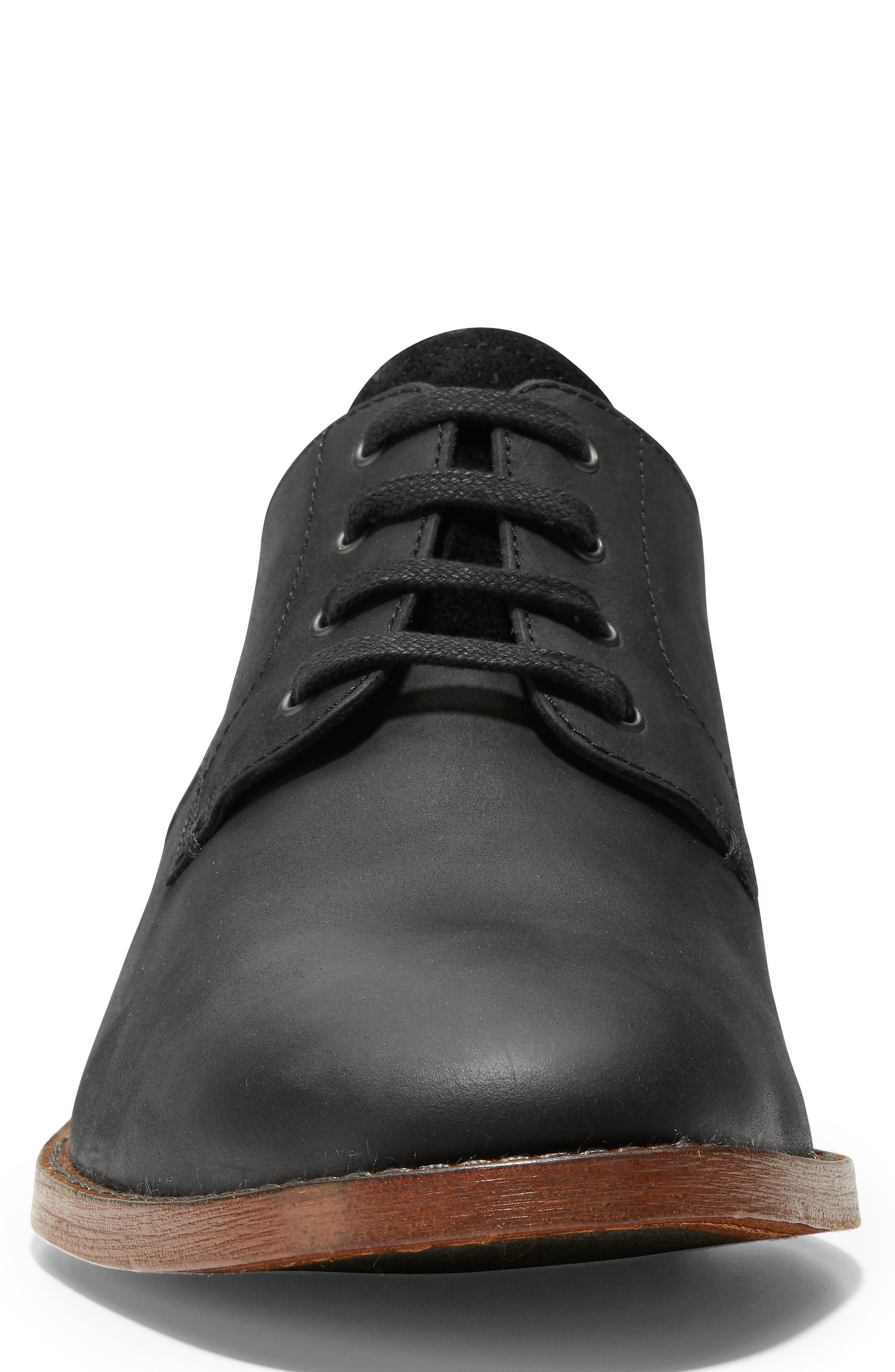 COLE HAAN, Feathercraft Grand Derby, Alternate thumbnail 4, color, BLACK LEATHER