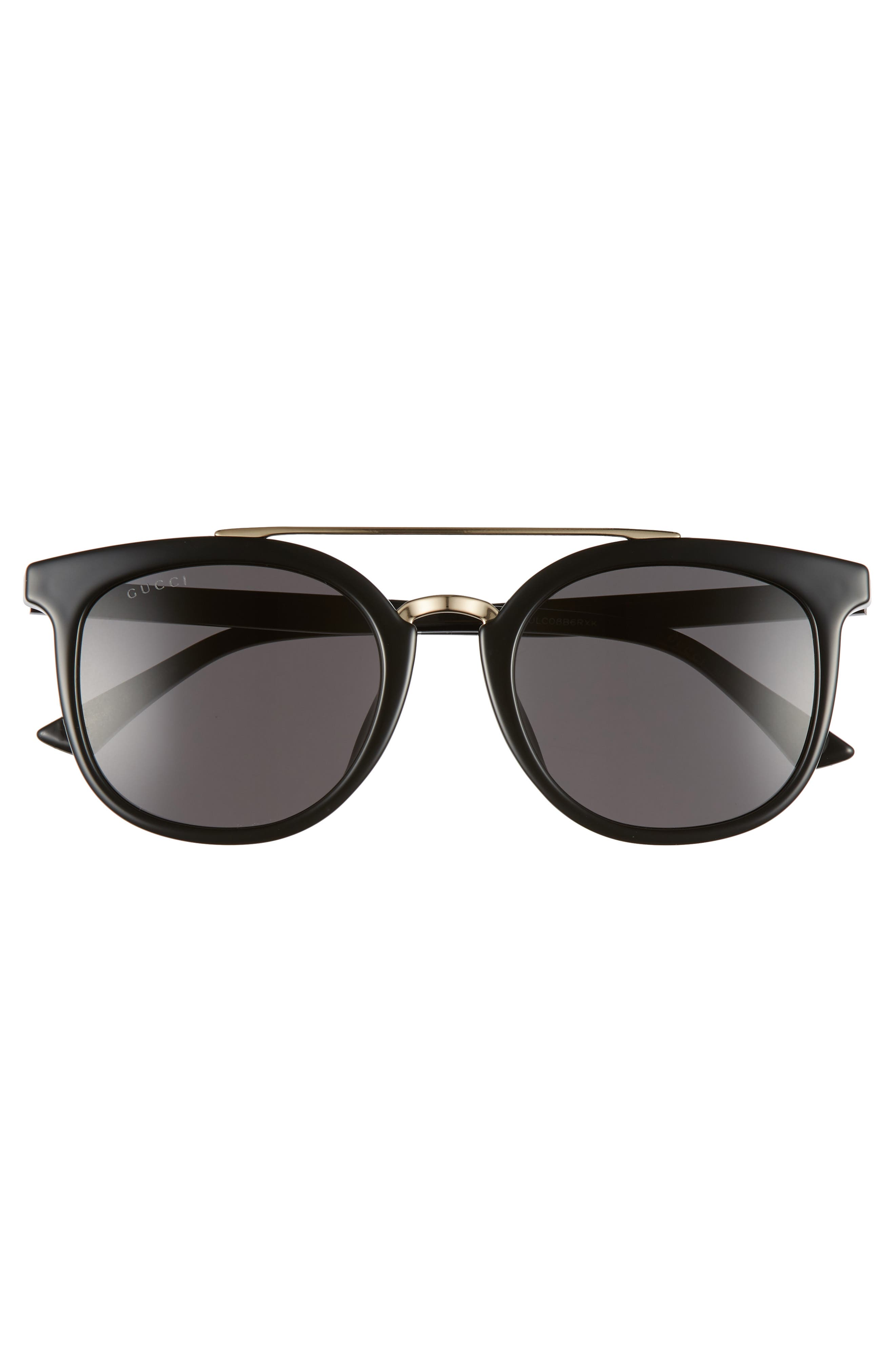 GUCCI, 52mm Round Sunglasses, Alternate thumbnail 2, color, BLACK/ GREY