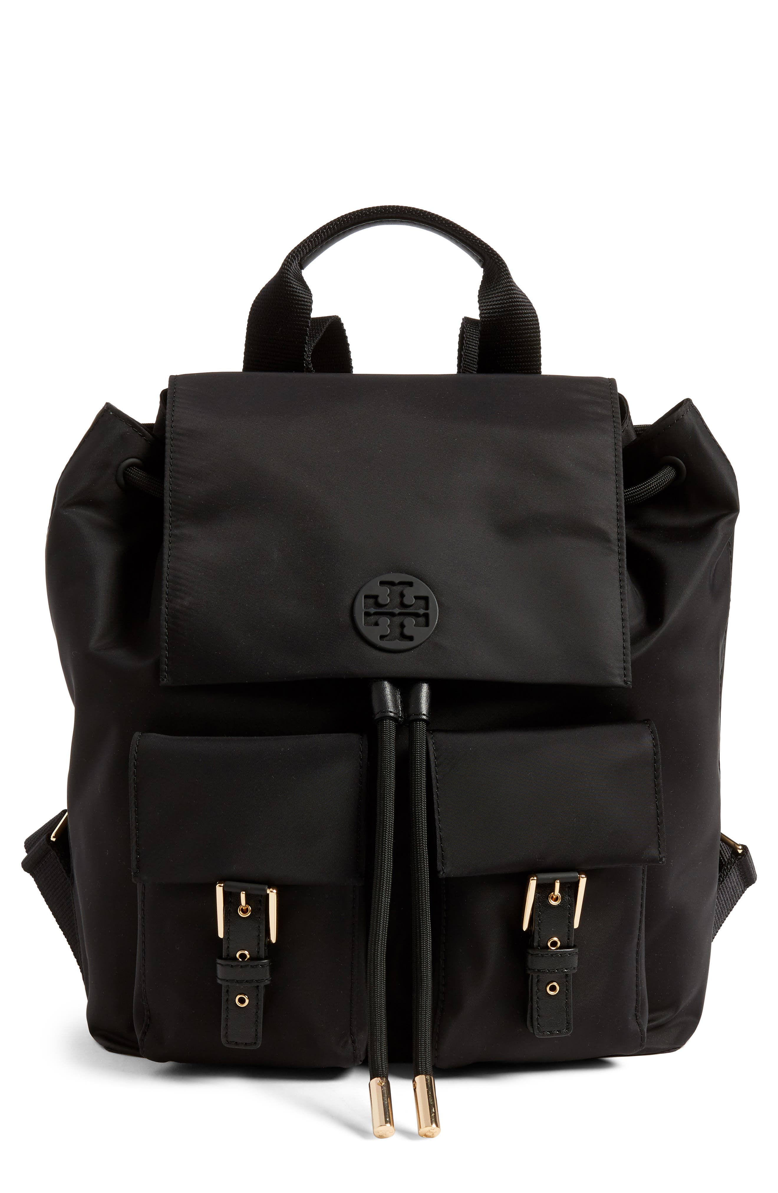 TORY BURCH Tilda Nylon Backpack, Main, color, BLACK