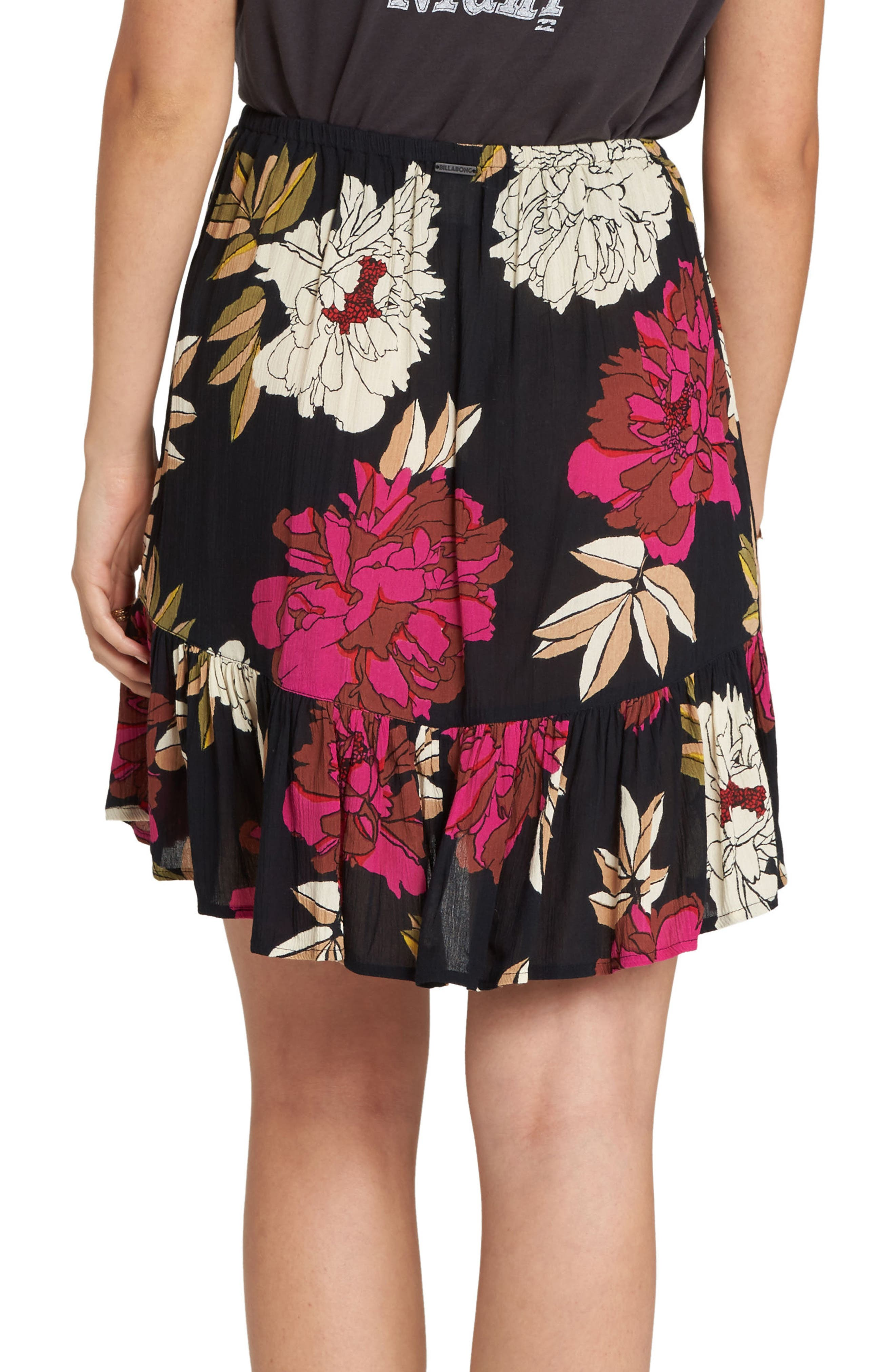BILLABONG, For the Ride Floral Print Faux Wrap Skirt, Alternate thumbnail 2, color, 001