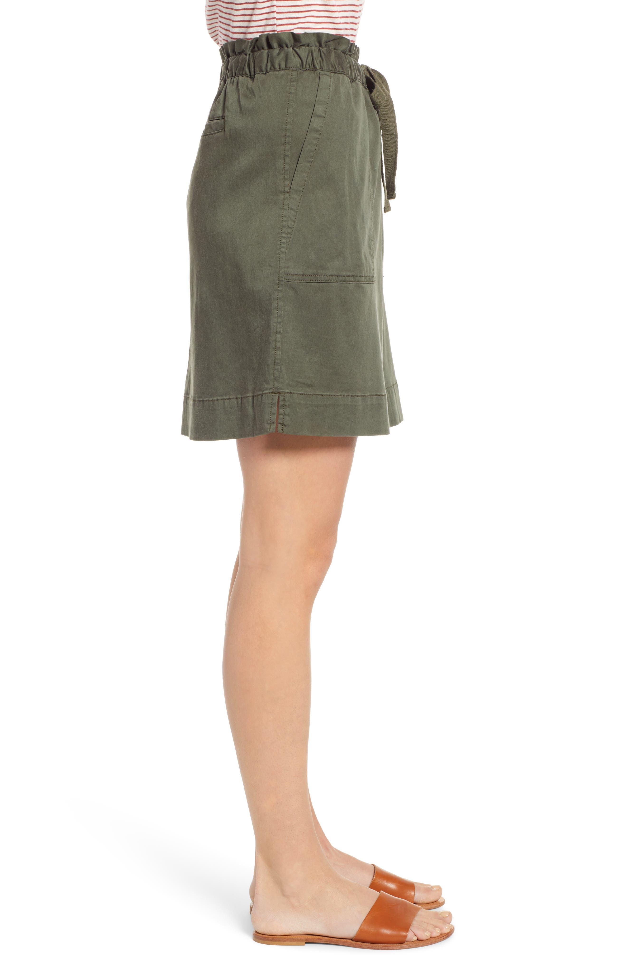 CASLON<SUP>®</SUP>, Paperbag Waist Skirt, Alternate thumbnail 3, color, GREEN BEETLE
