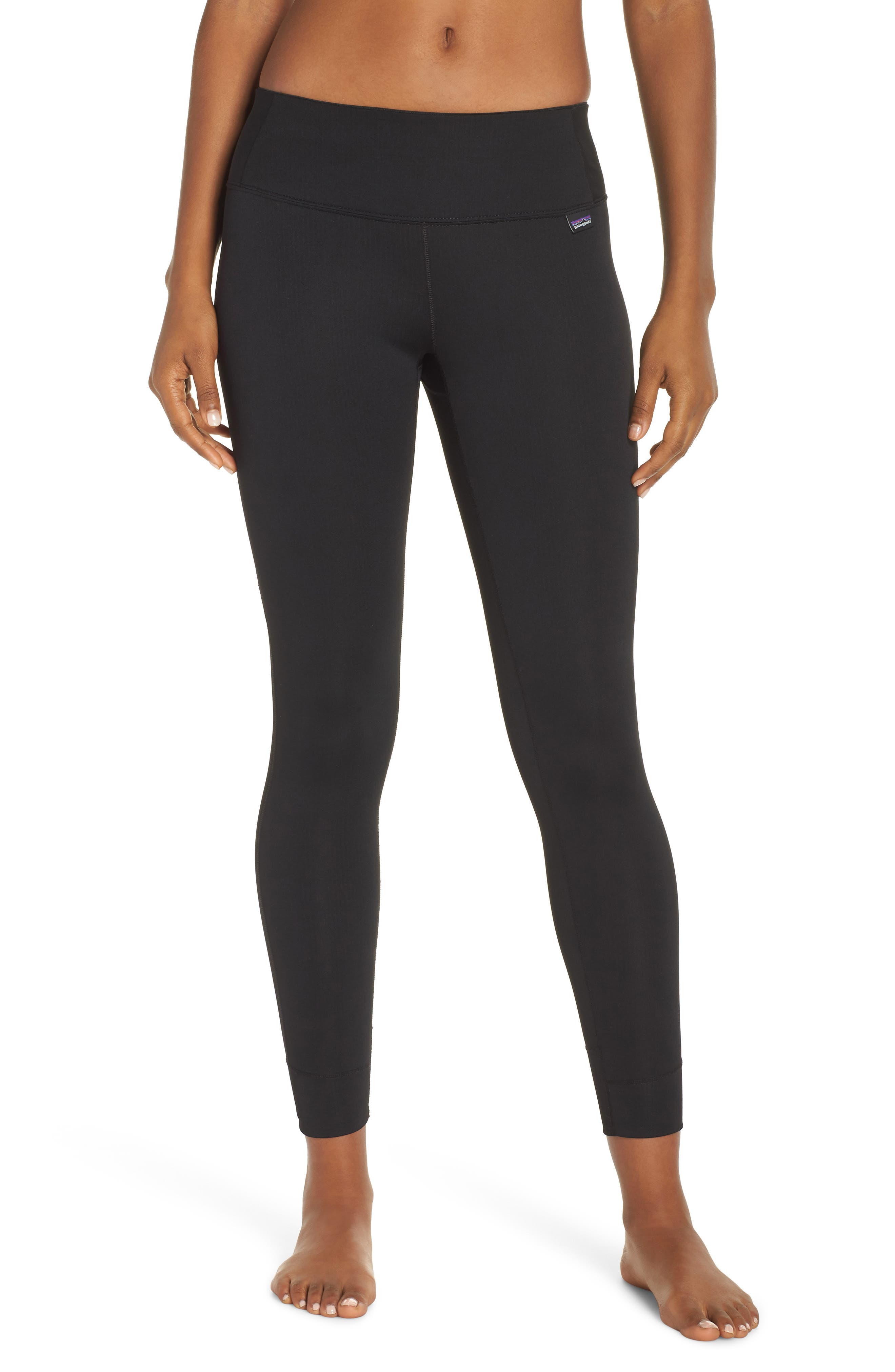 PATAGONIA Capilene Midweight Base Layer Tights, Main, color, BLACK