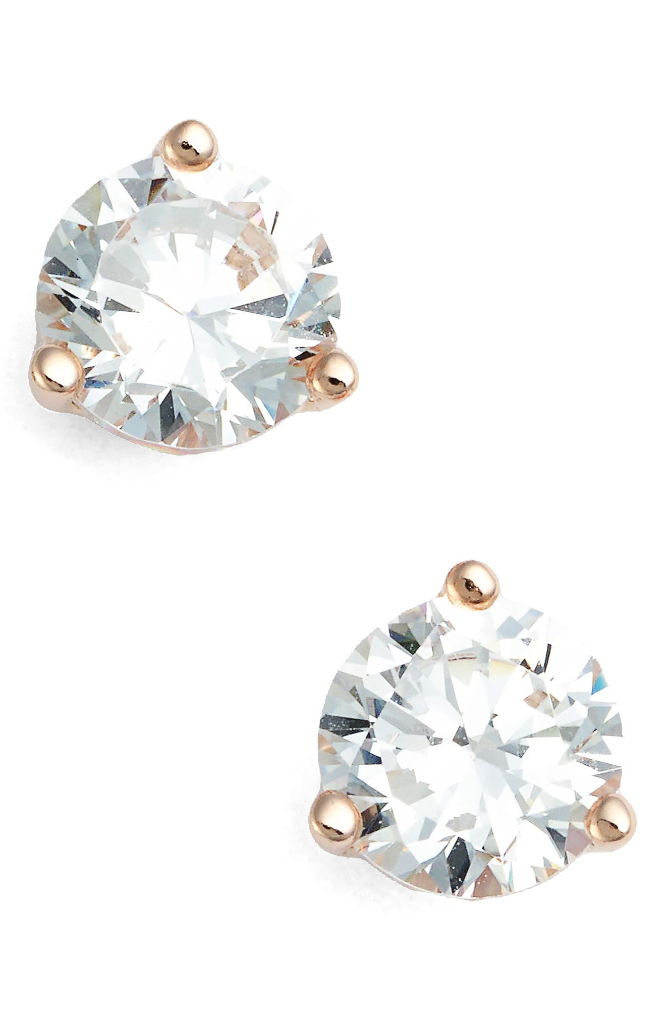 NORDSTROM, 1ct tw Cubic Zirconia Earrings, Main thumbnail 1, color, ROSE GOLD