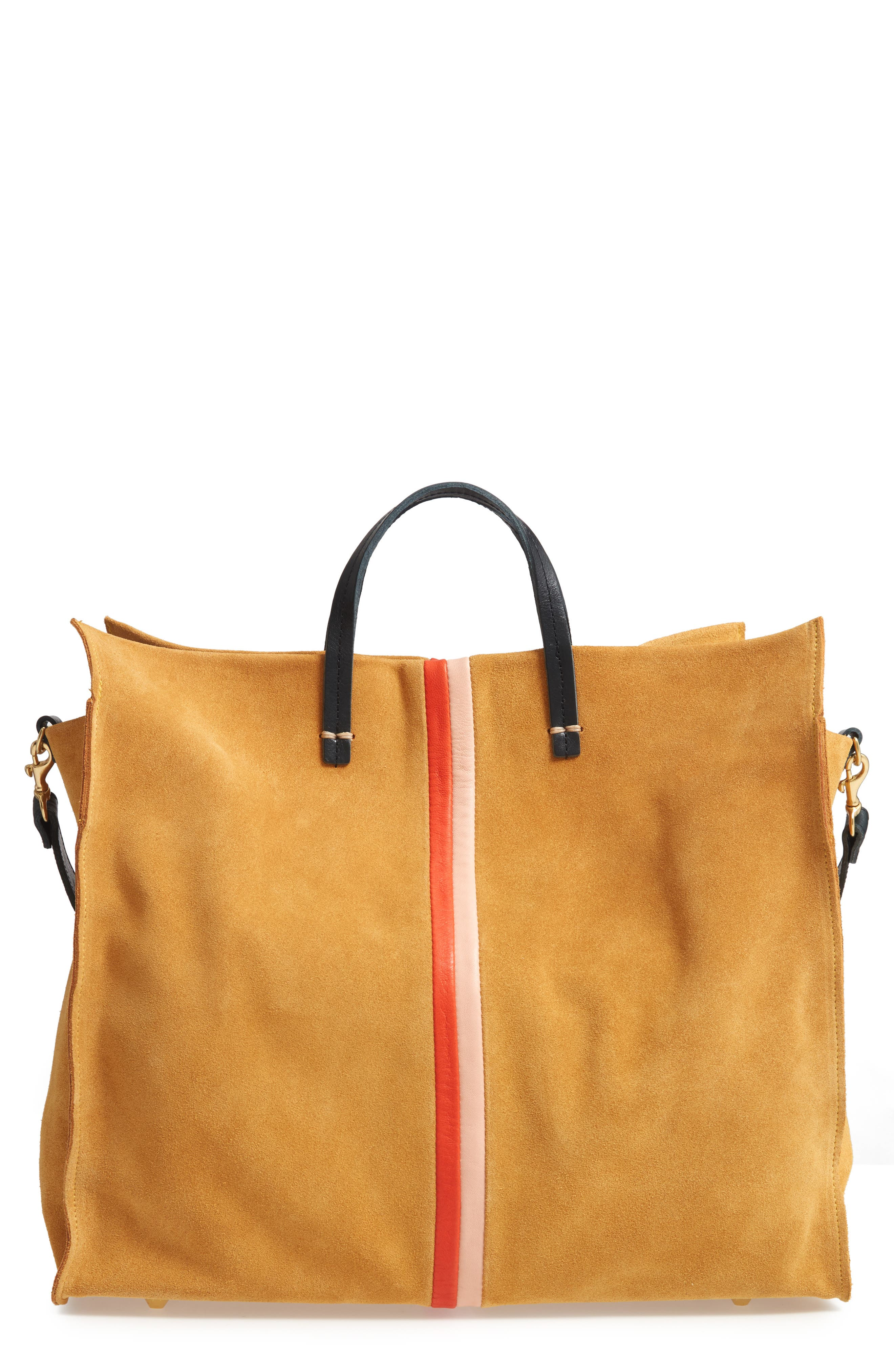 CLARE V., Simple Stripe Suede Tote, Main thumbnail 1, color, MUSTARD SUEDE