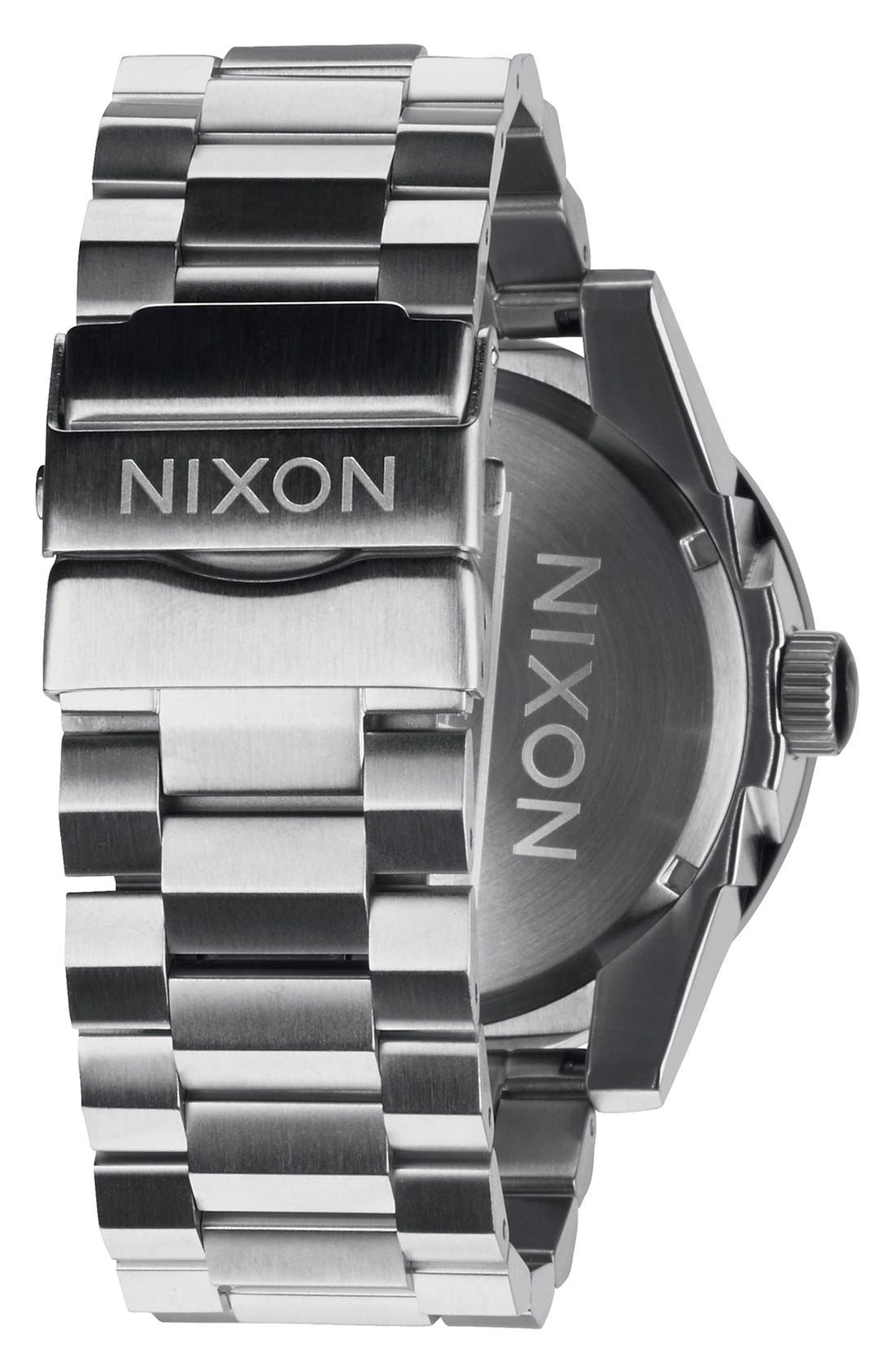 NIXON, 'The Corporal' Bracelet Watch, 48mm, Alternate thumbnail 3, color, SILVER/ GUNMETAL