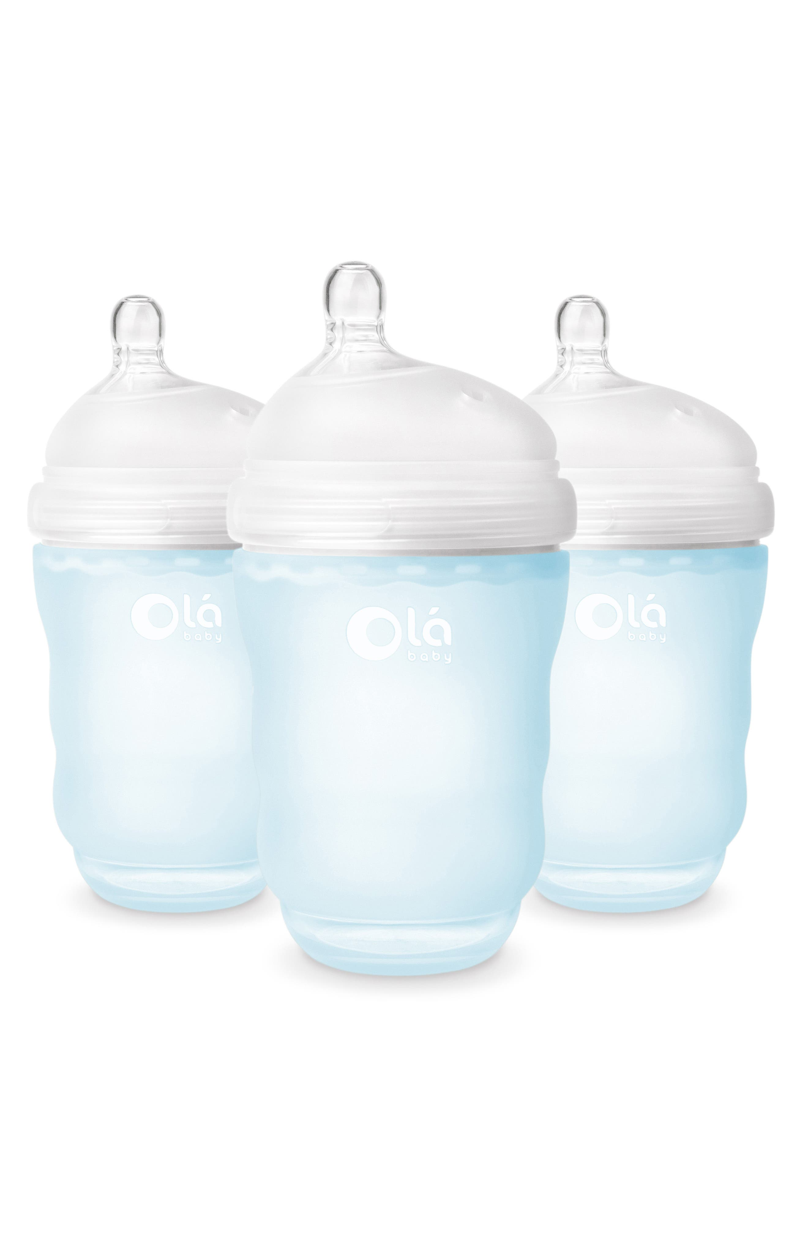 OLABABY, 3-Pack GentleBottle 8-Ounce Baby Bottles, Main thumbnail 1, color, SKY