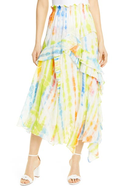 Tanya Taylor Skirts TIE DYE HANDKERCHIEF HEM SILK & COTTON SKIRT