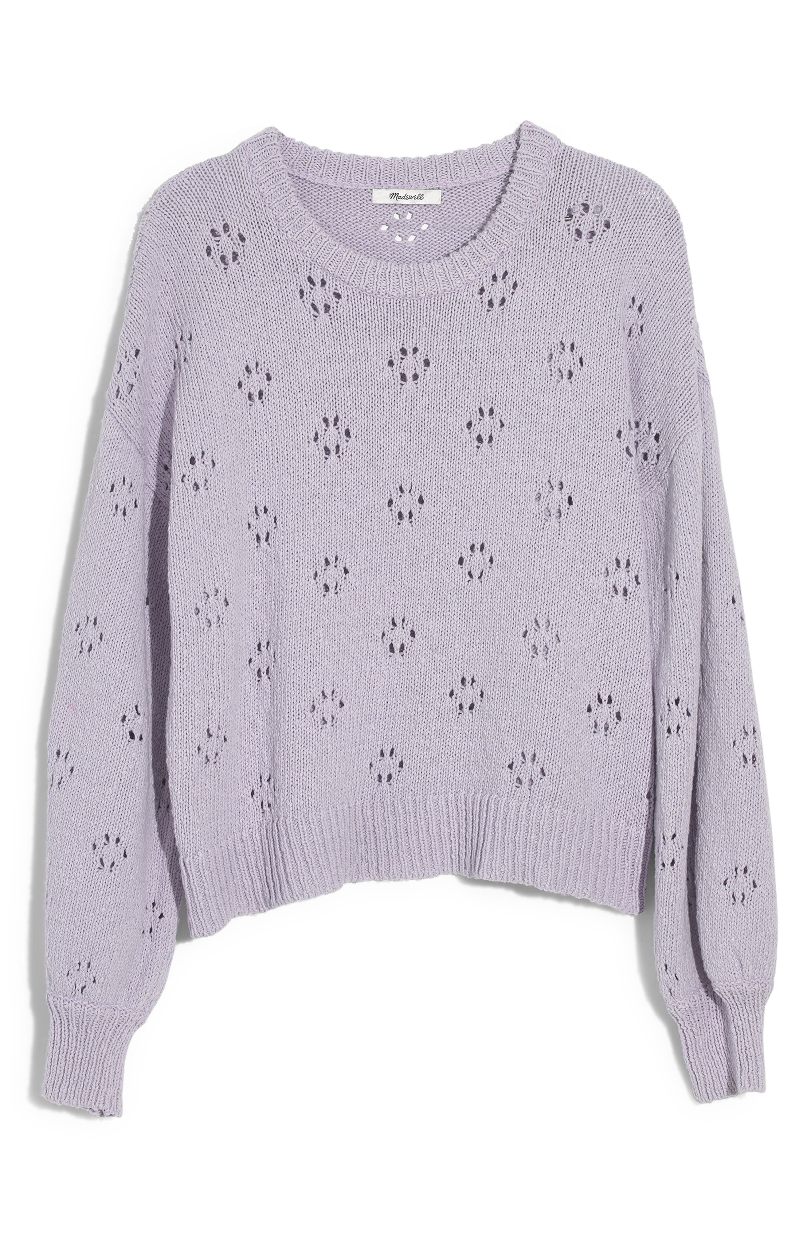 MADEWELL, Floral Pointelle Pullover Sweater, Alternate thumbnail 6, color, SUNDRENCHED LILAC