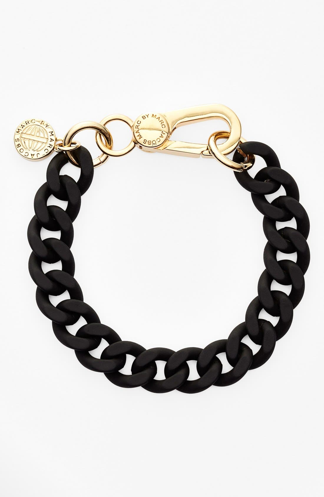 MARC BY MARC JACOBS, 'Key Items' Rubber Chain Bracelet, Main thumbnail 1, color, 001