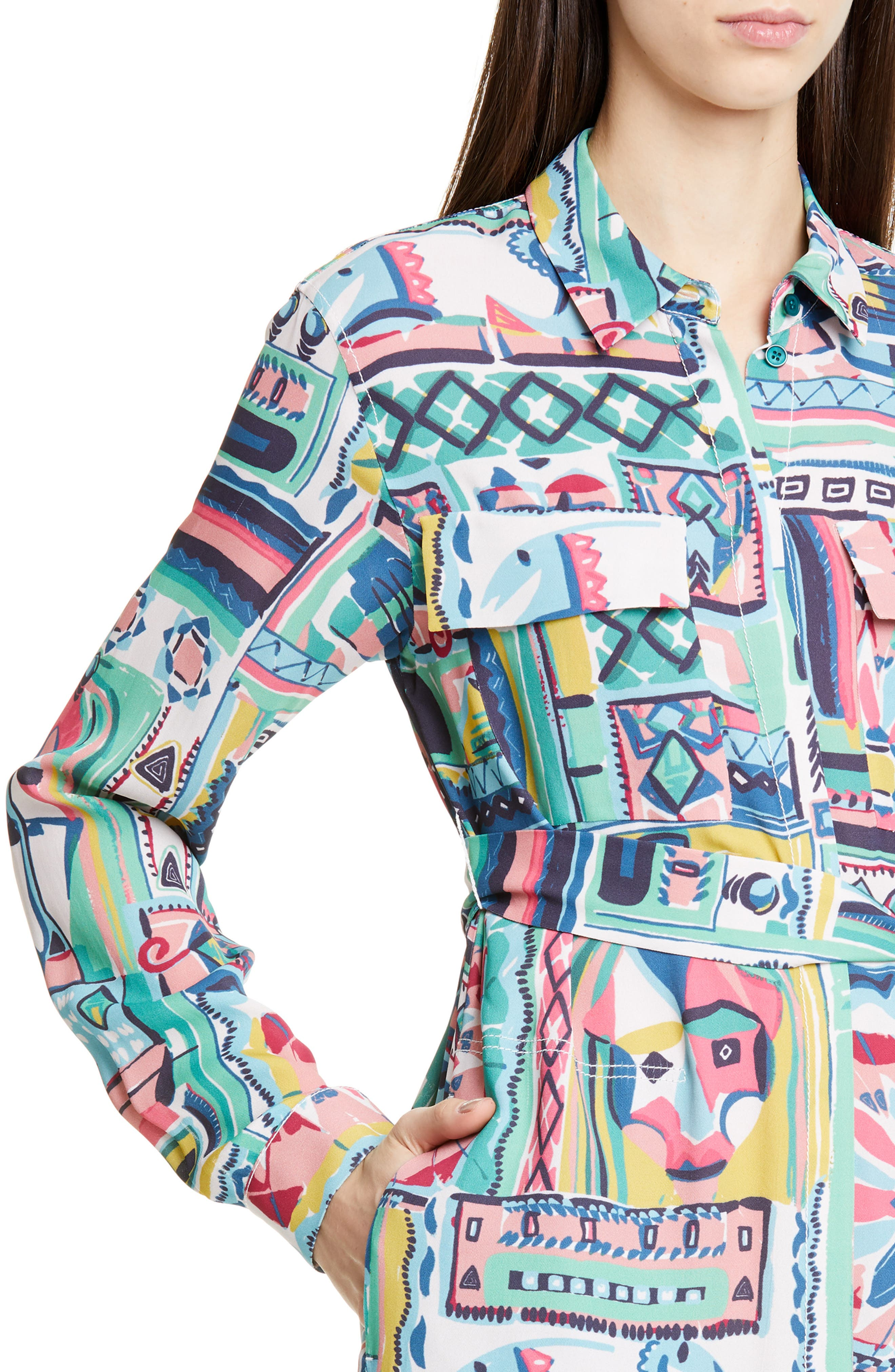 LAFAYETTE 148 NEW YORK, Doha Palazzo Patchwork Print Maxi Shirtdress, Alternate thumbnail 4, color, 400