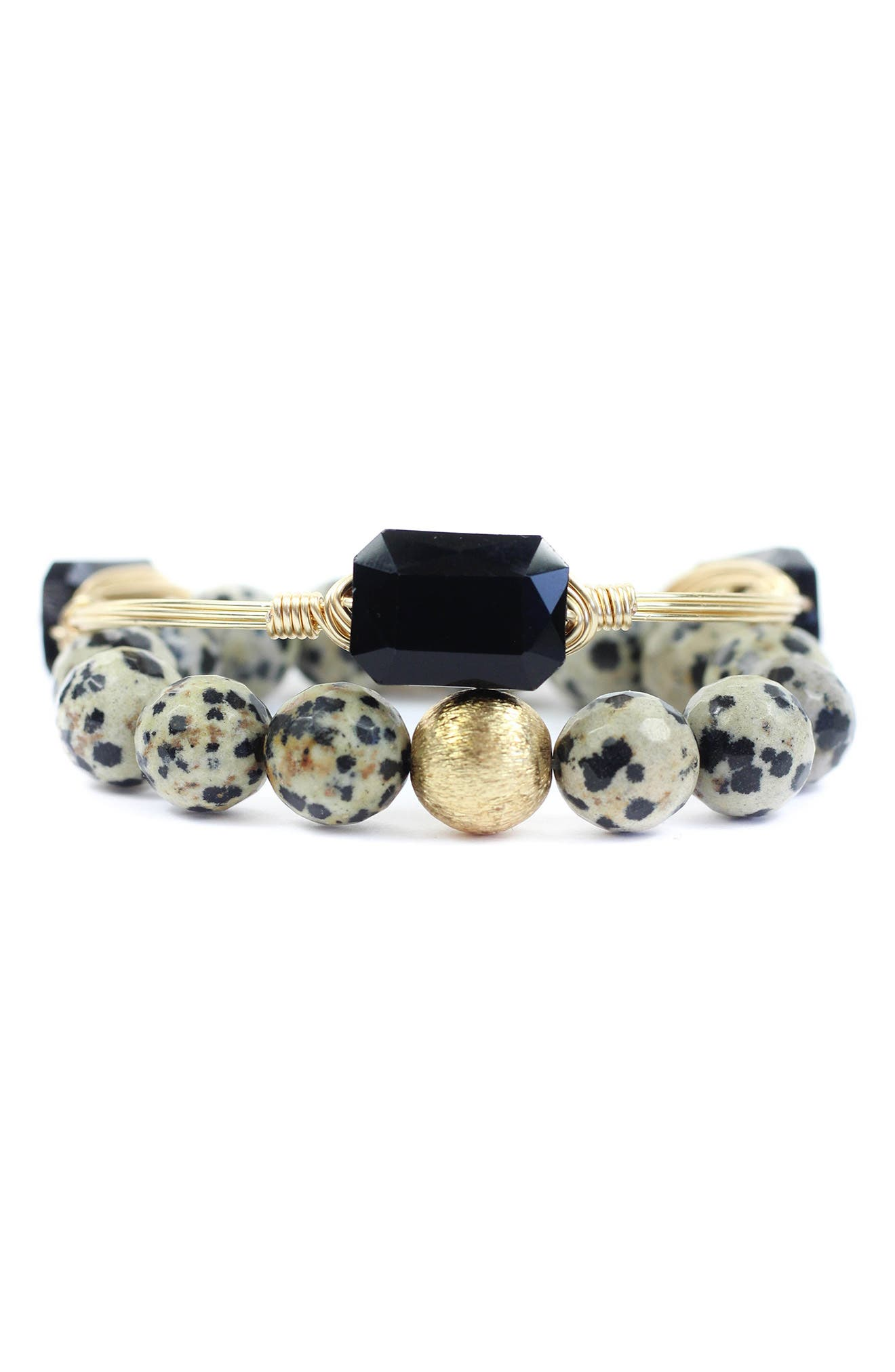 BOURBON AND BOWETIES, Dalmatian Jasper & Black Crystal Bangle & Stretch Bracelet Set, Main thumbnail 1, color, BLACK/ GOLD AND BLACK/ CREAM