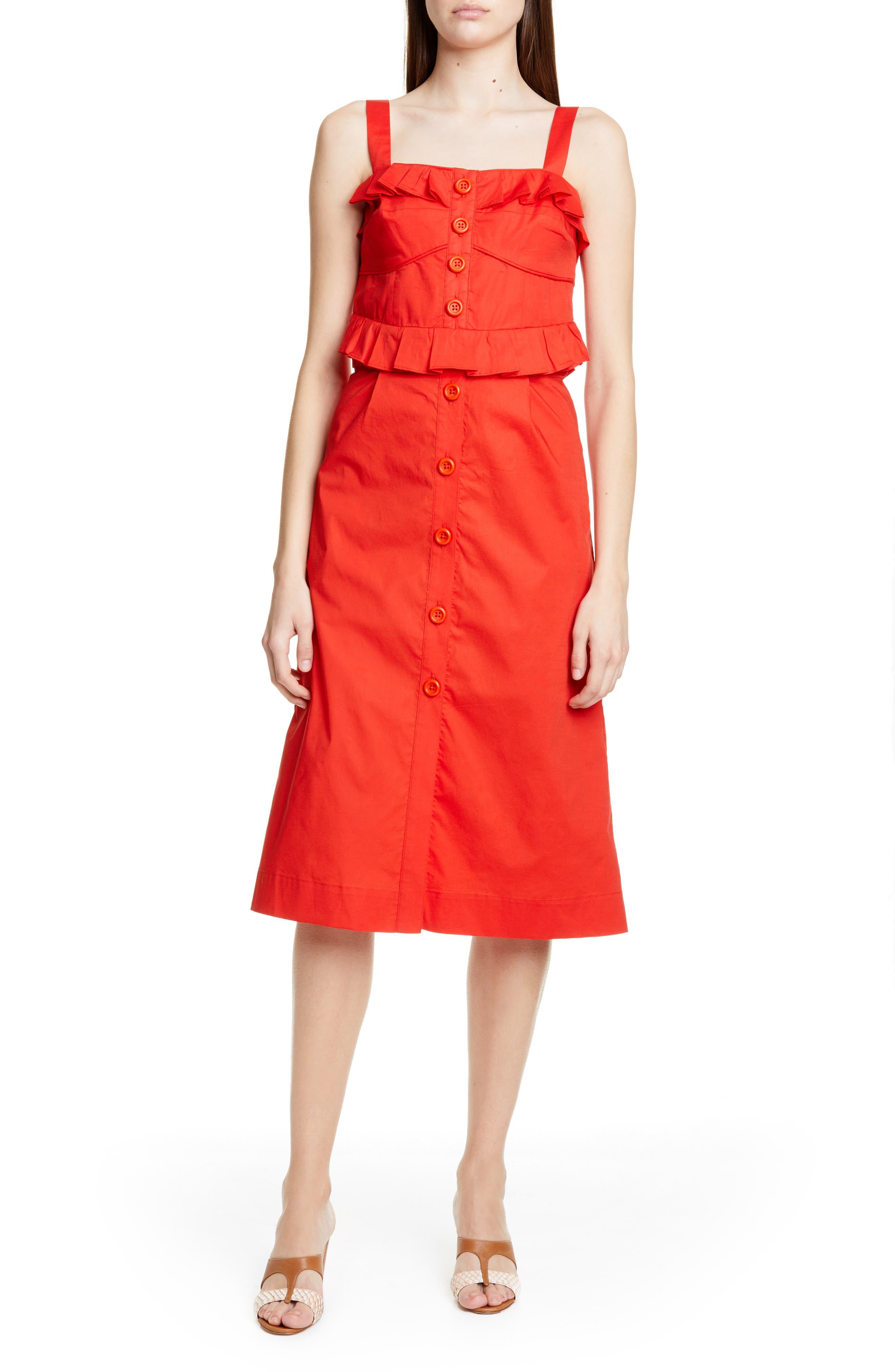 Sea Ruffle Corset Midi Dress, Red