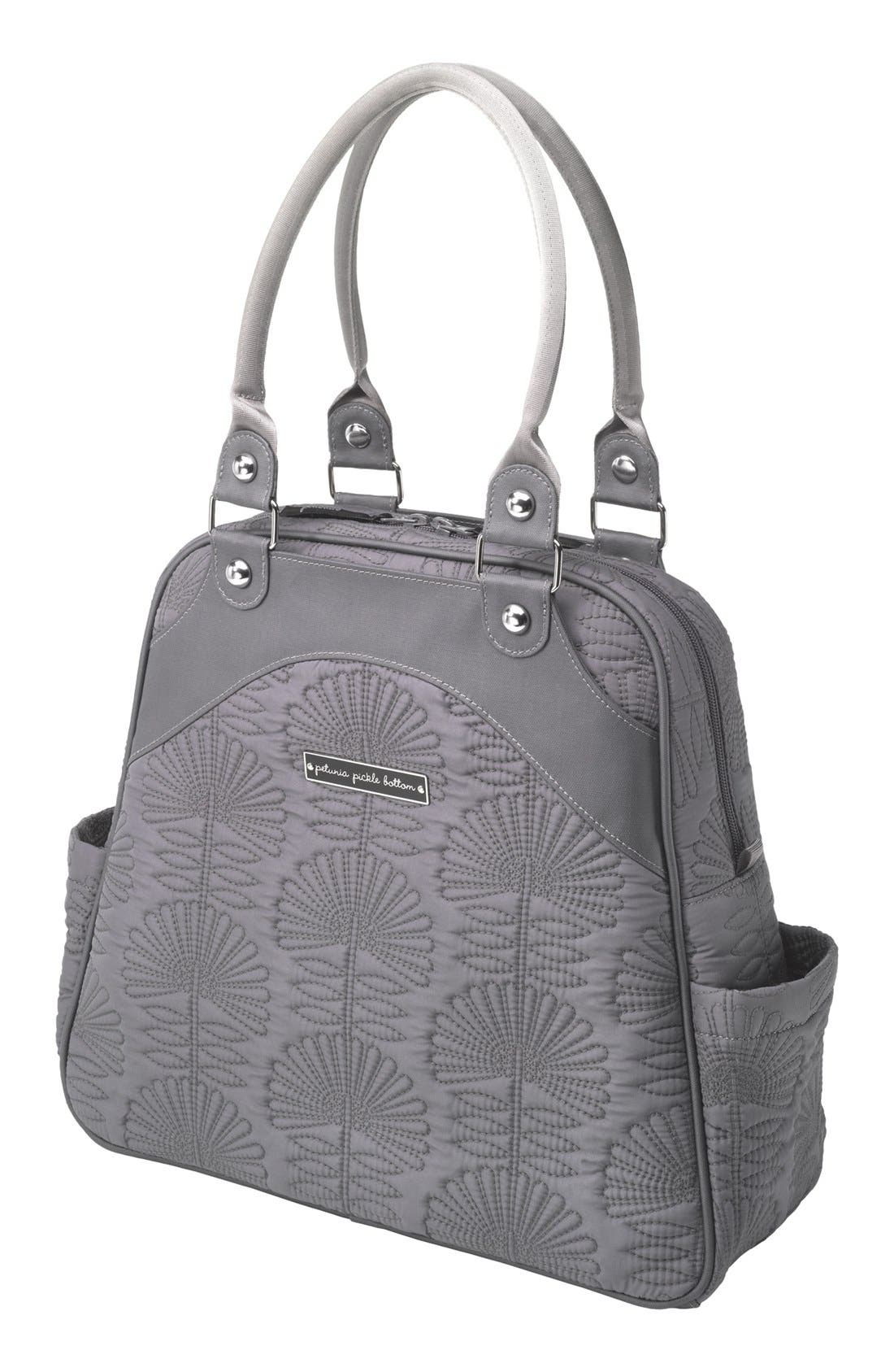 PETUNIA PICKLE BOTTOM, 'Embossed Sashay' Diaper Bag, Main thumbnail 1, color, 020