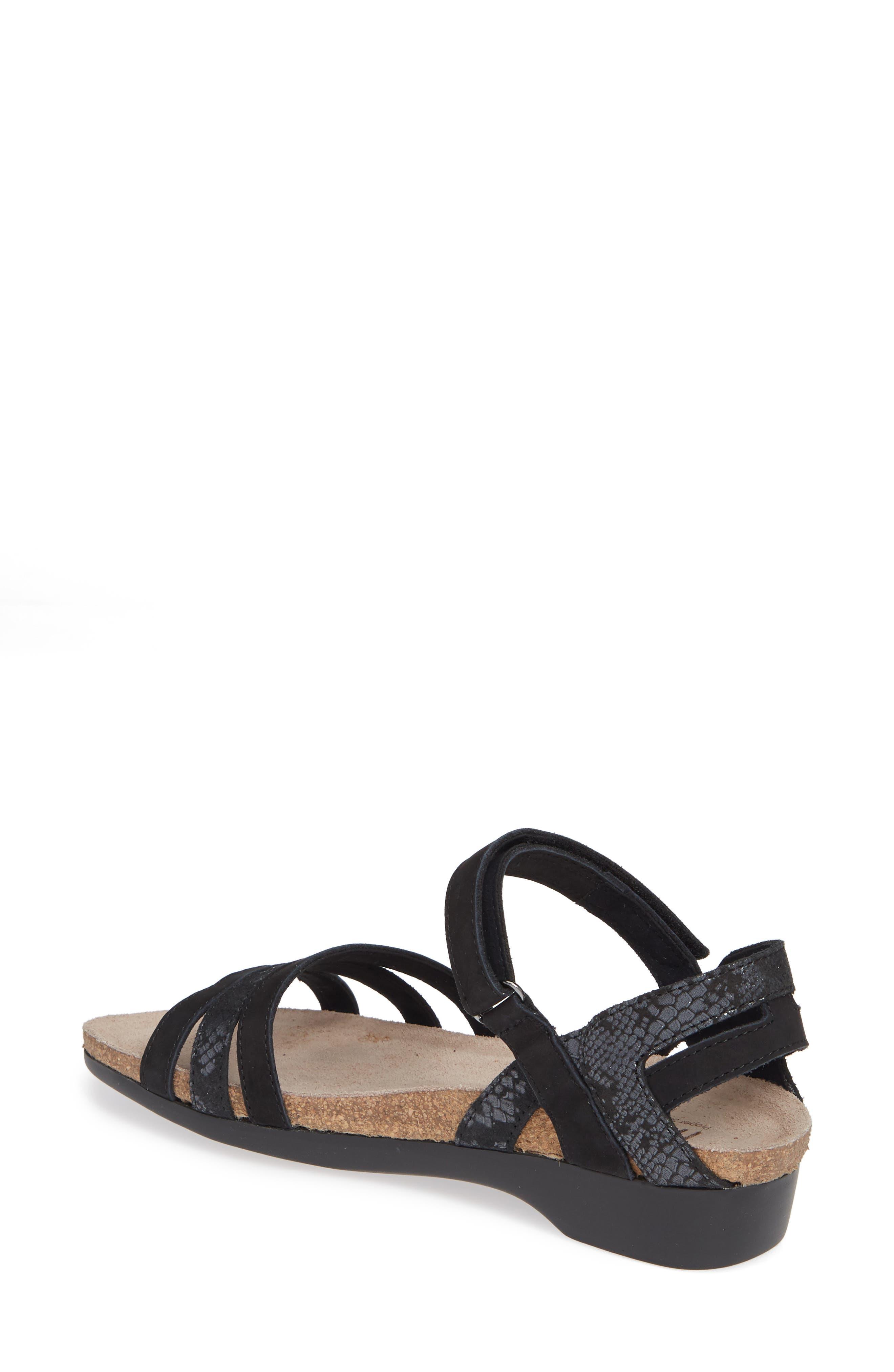 MUNRO, Summer Sandal, Alternate thumbnail 2, color, BLACK COMBO NUBUCK