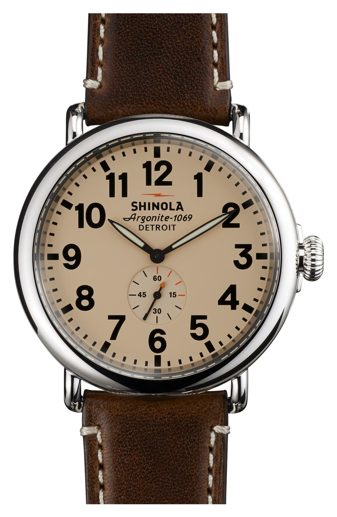 SHINOLA, 'The Runwell' Leather Strap Watch, 47mm, Main thumbnail 1, color, DARK COFFEE/ CREAM