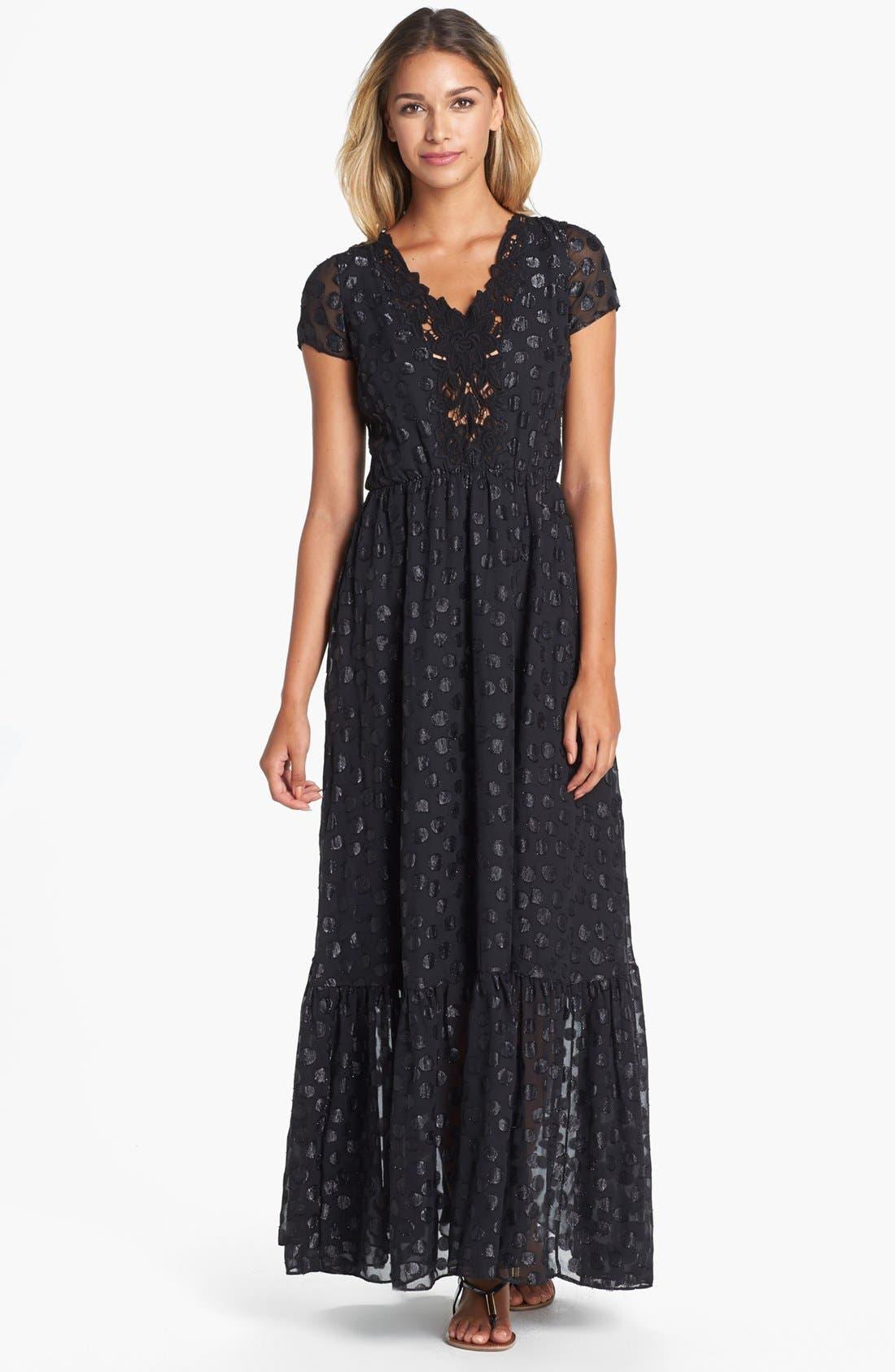DRESS THE POPULATION 'Evan' Metallic Dot Maxi Dress, Main, color, 001