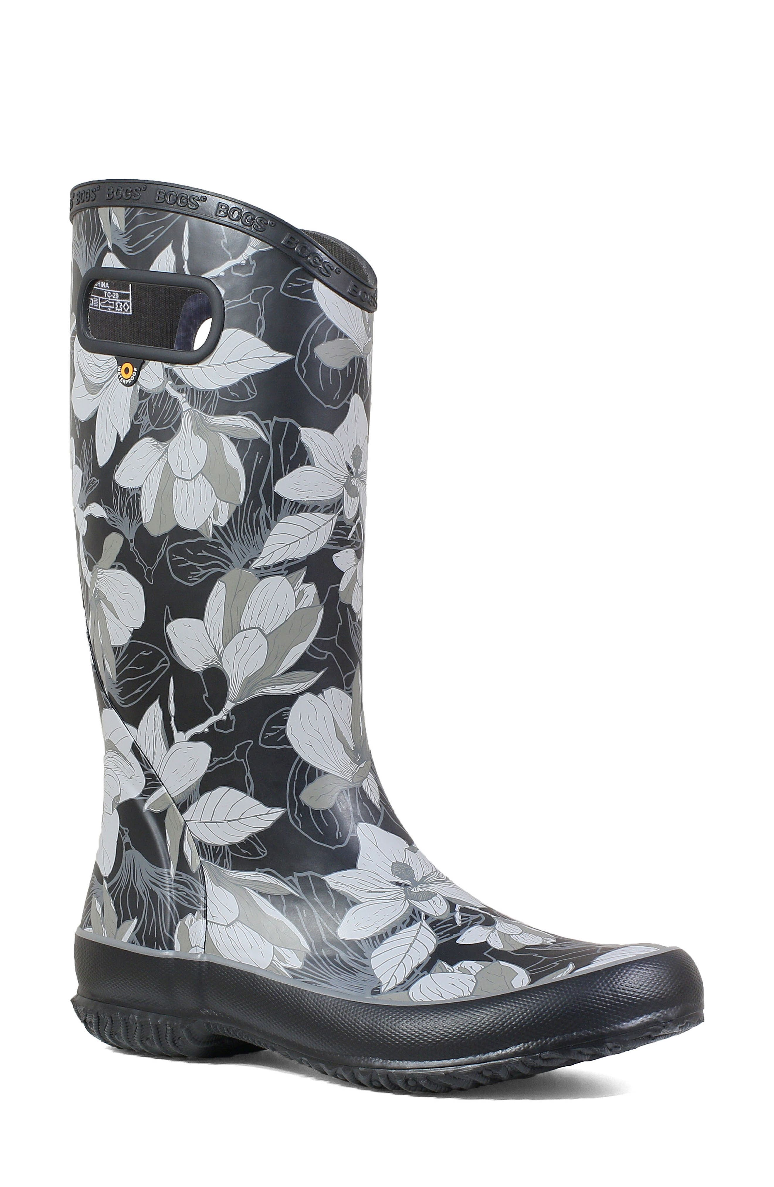 BOGS, Classic Tall Waterproof Rain Boot, Main thumbnail 1, color, BLACK MULTI RUBBER