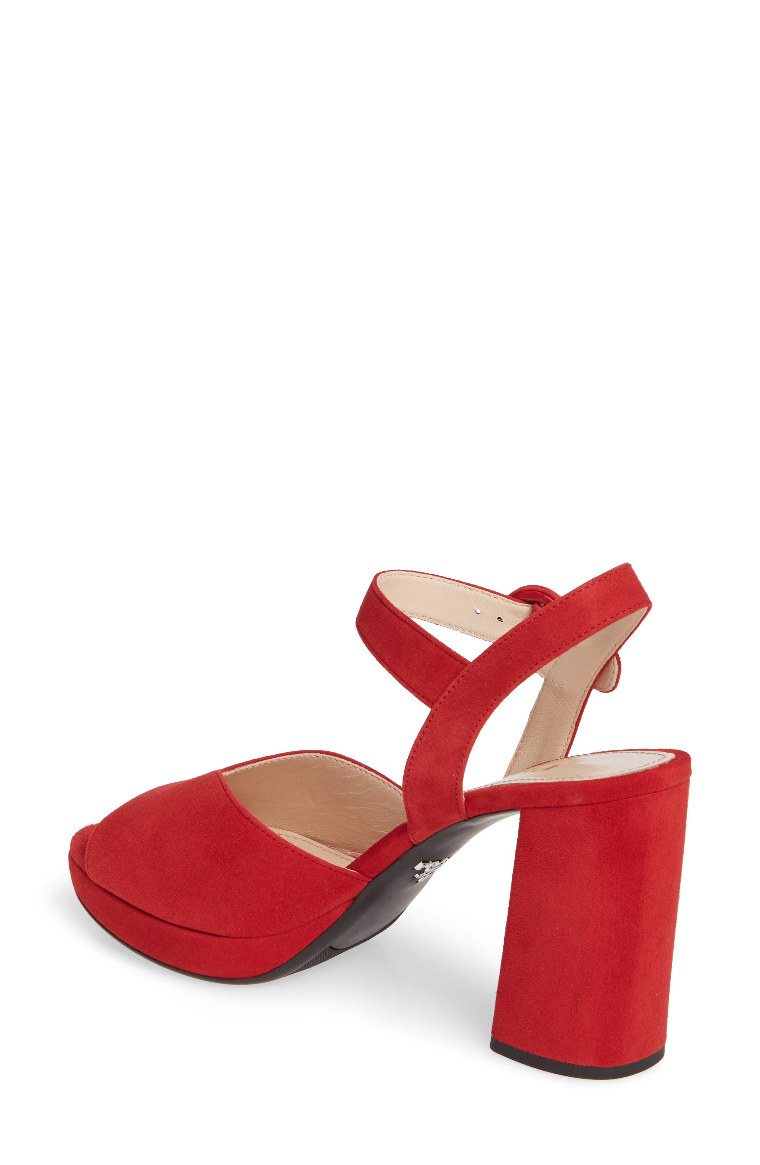 PRADA, Platform Sandal, Alternate thumbnail 2, color, RED SUEDE