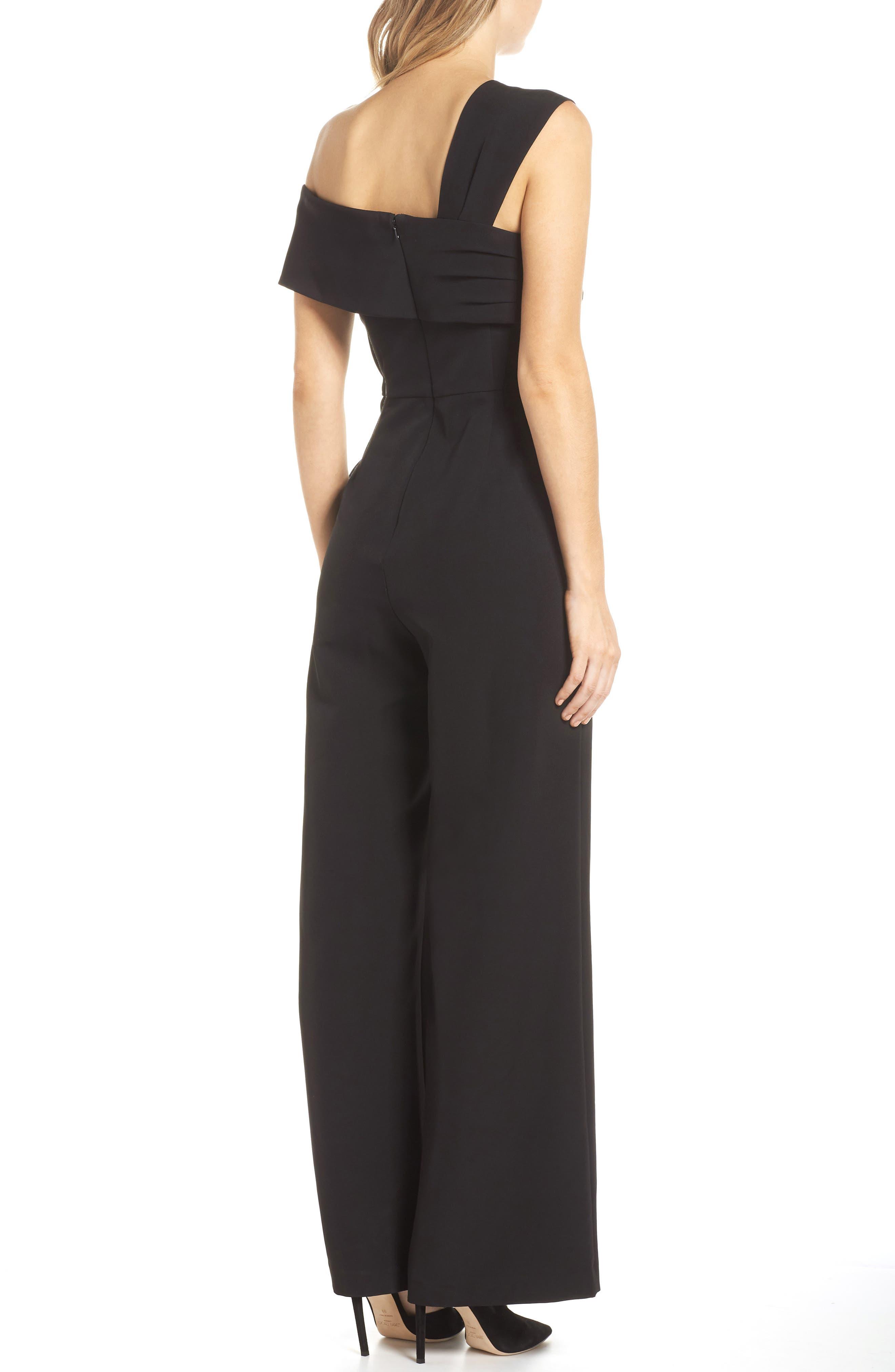ELIZA J, Asymmetrical Neckline Jumpsuit, Alternate thumbnail 2, color, BLACK