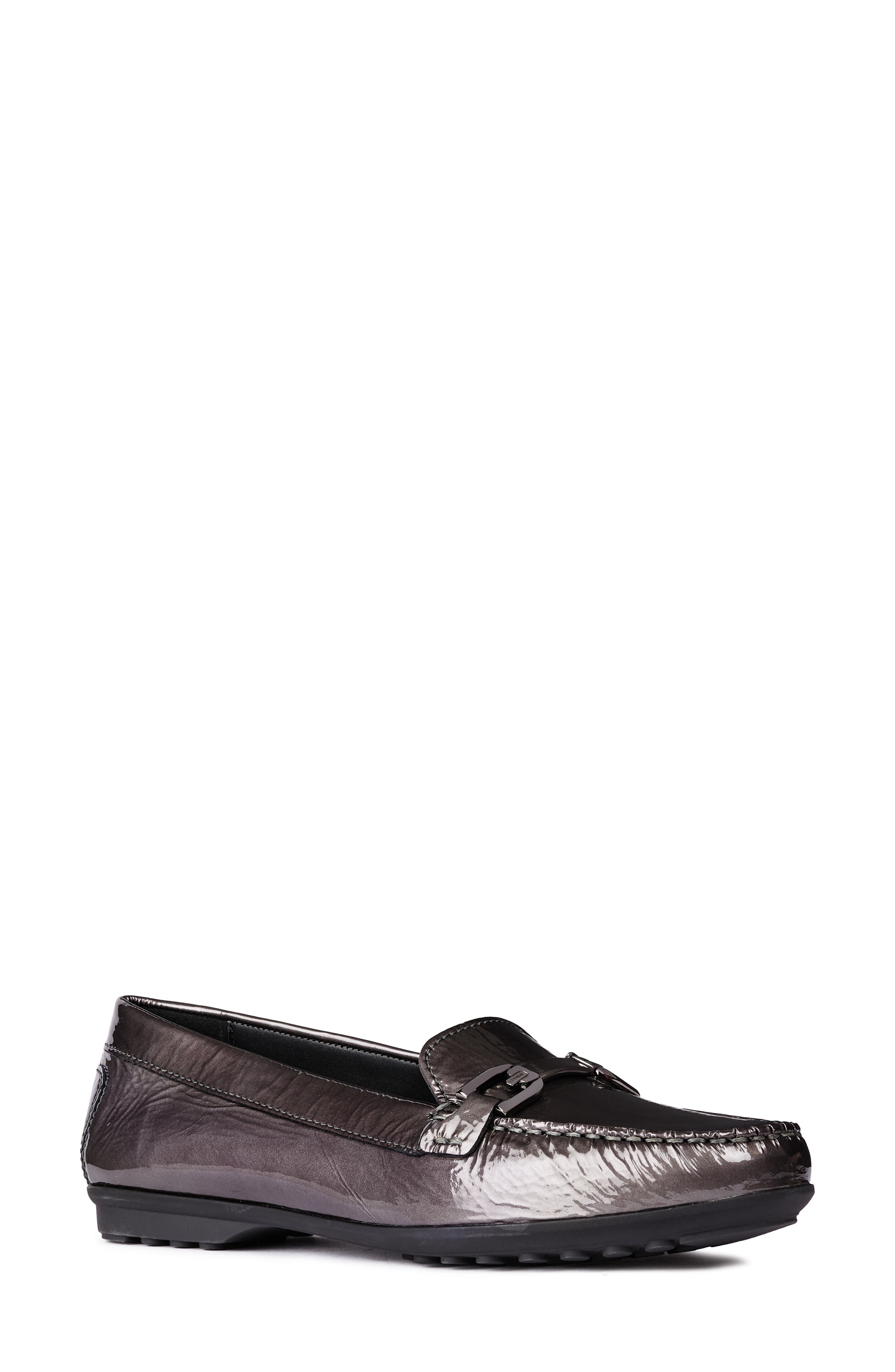 GEOX, Elidia Loafer, Main thumbnail 1, color, DARK GREY LEATHER