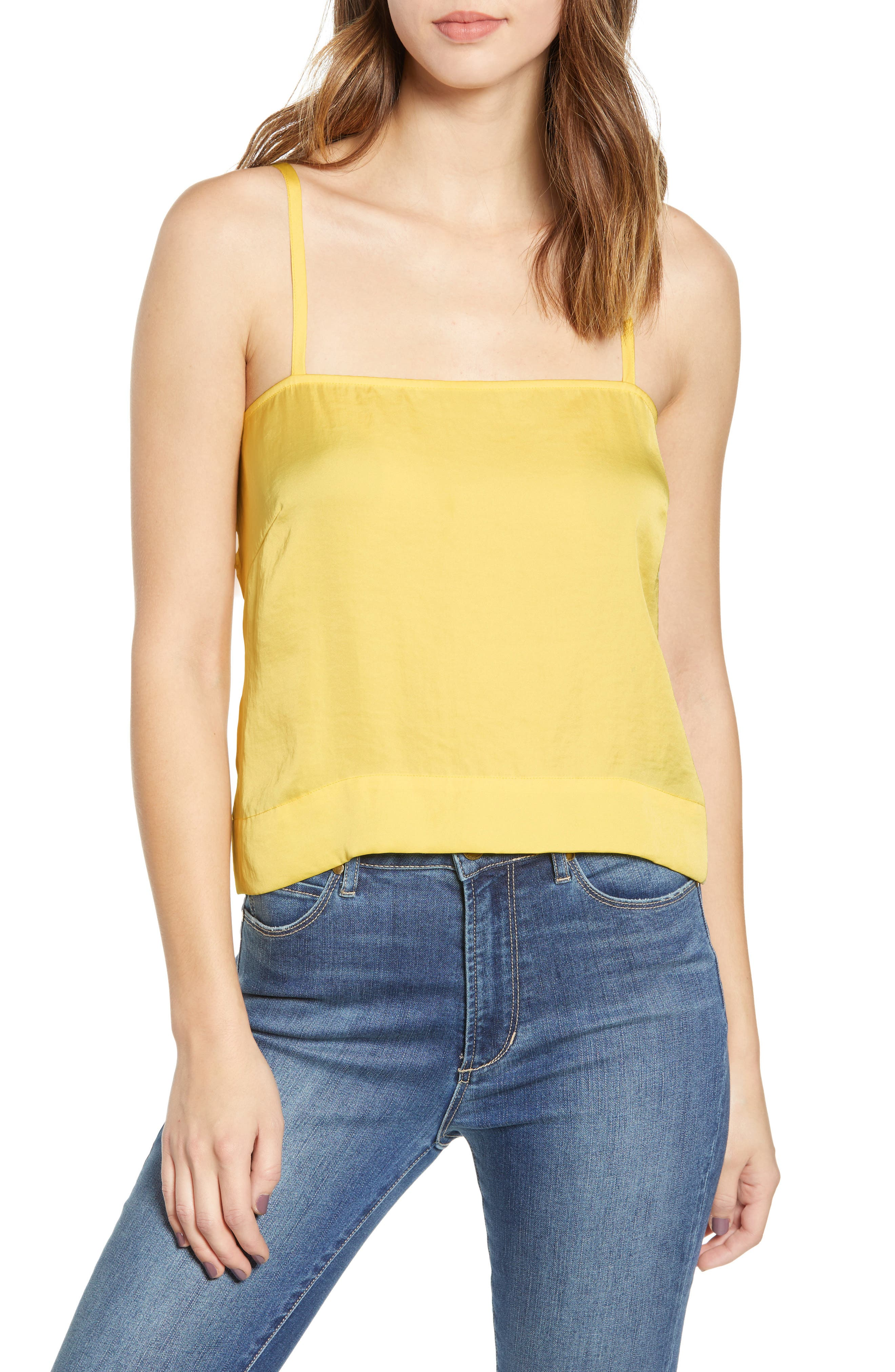 LEITH Fluid Strappy Satin Camisole, Main, color, YELLOW MERINGUE