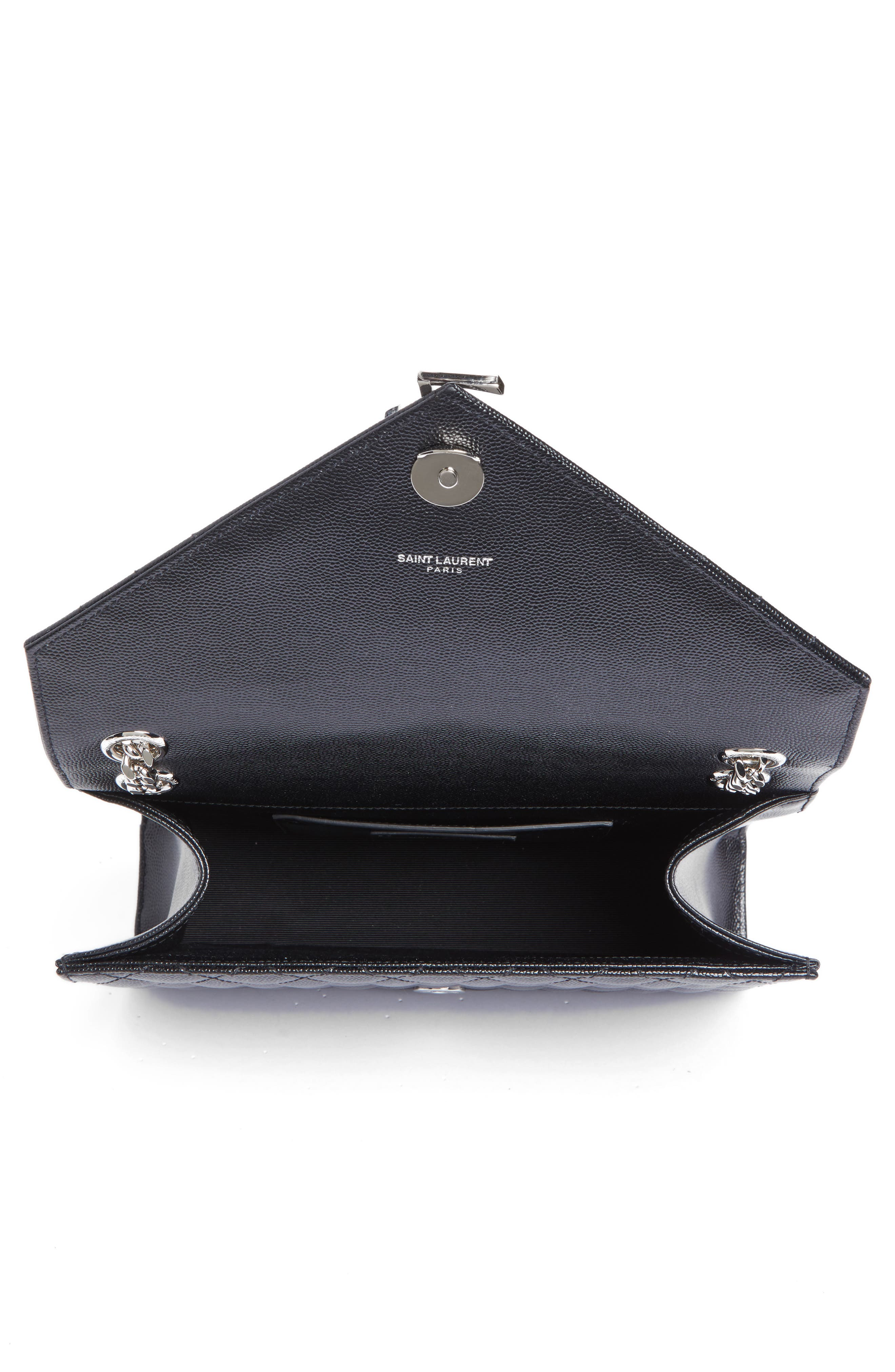 SAINT LAURENT, Large Monogram Quilted Leather Shoulder Bag, Alternate thumbnail 3, color, NERO