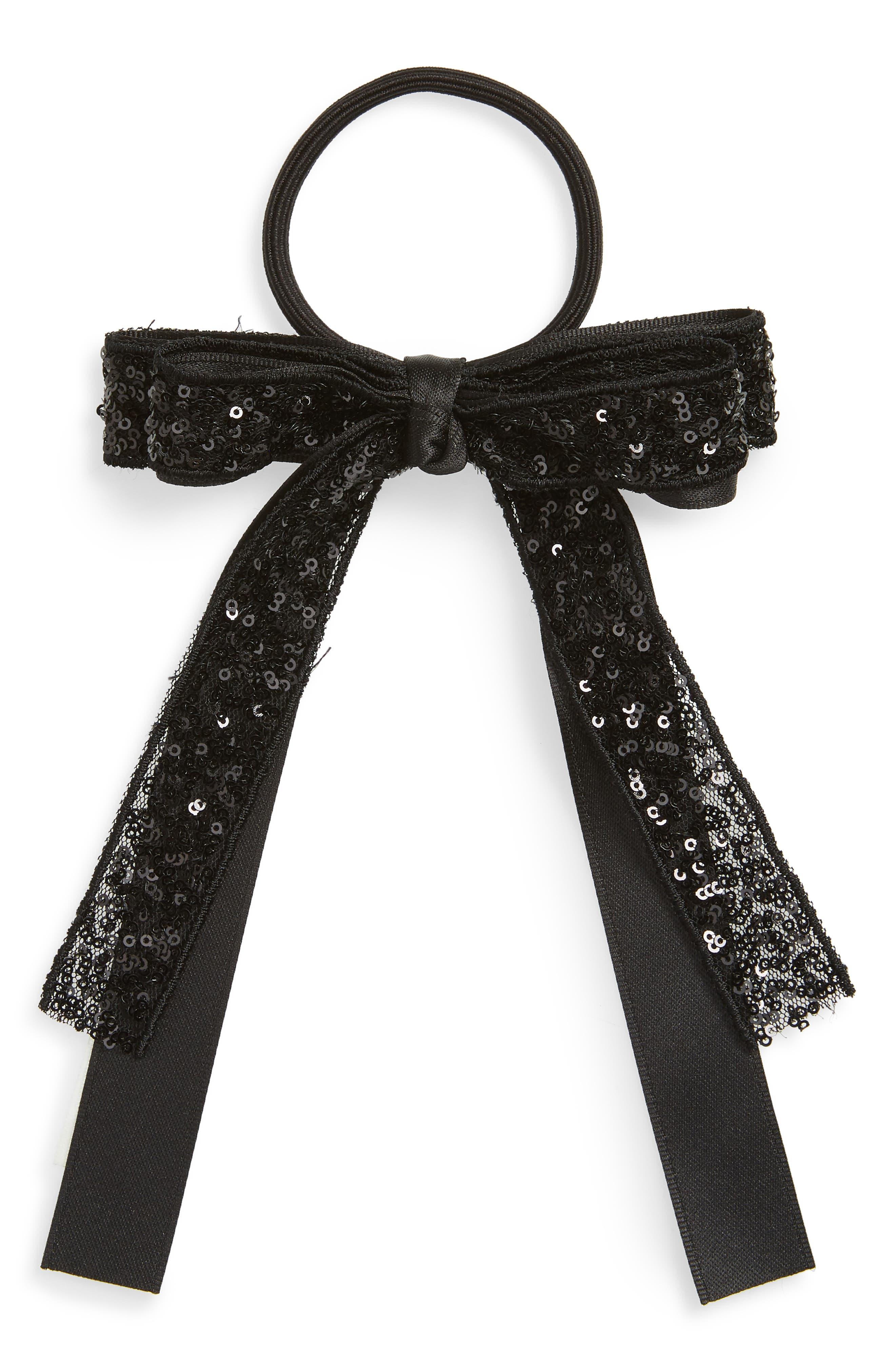 CARA, Sequin Bow Ponytail Holder, Main thumbnail 1, color, BLACK