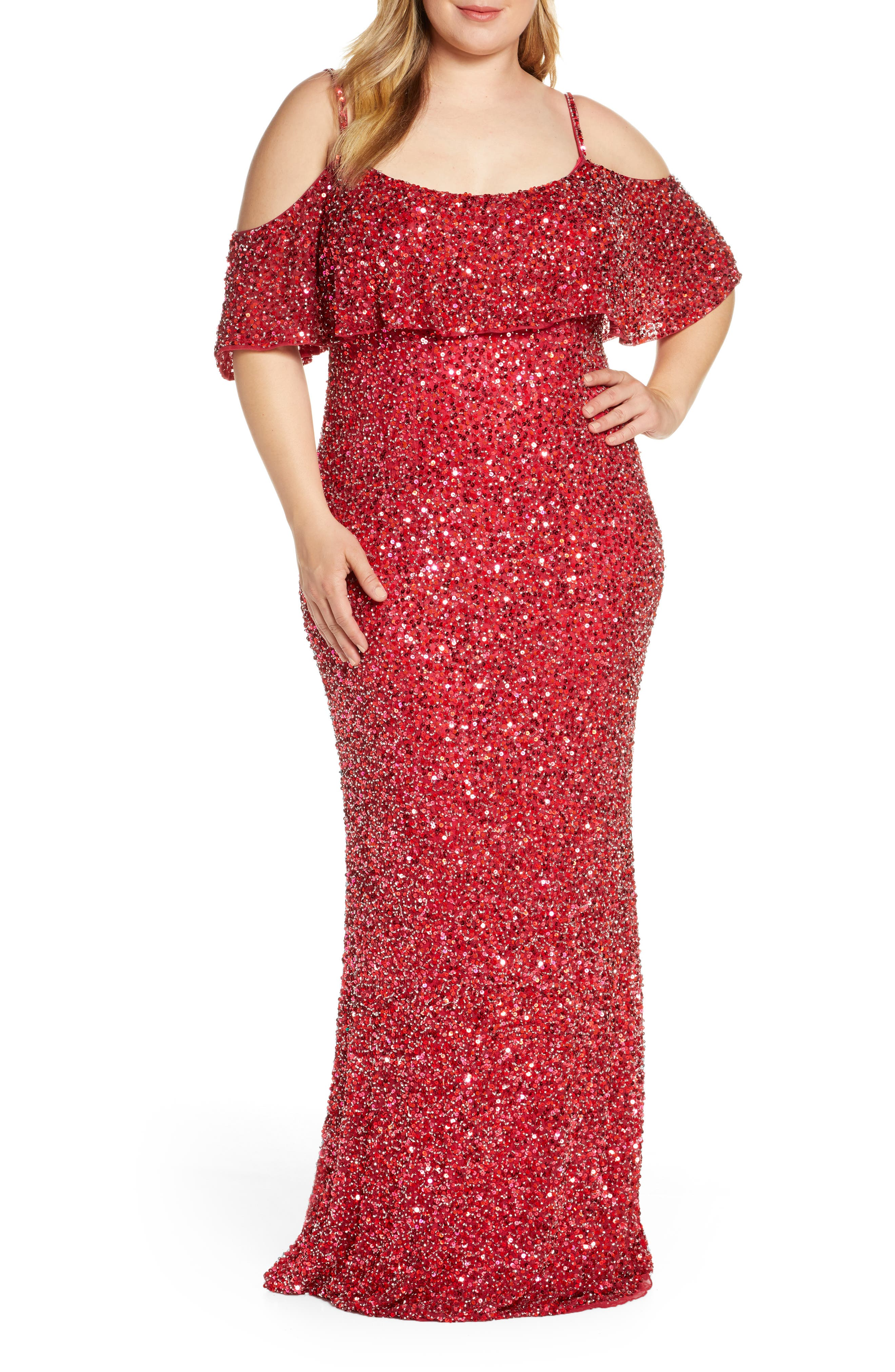Plus Size MAC Duggal Sequin Cold Shoulder Popover Evening Gown, Red
