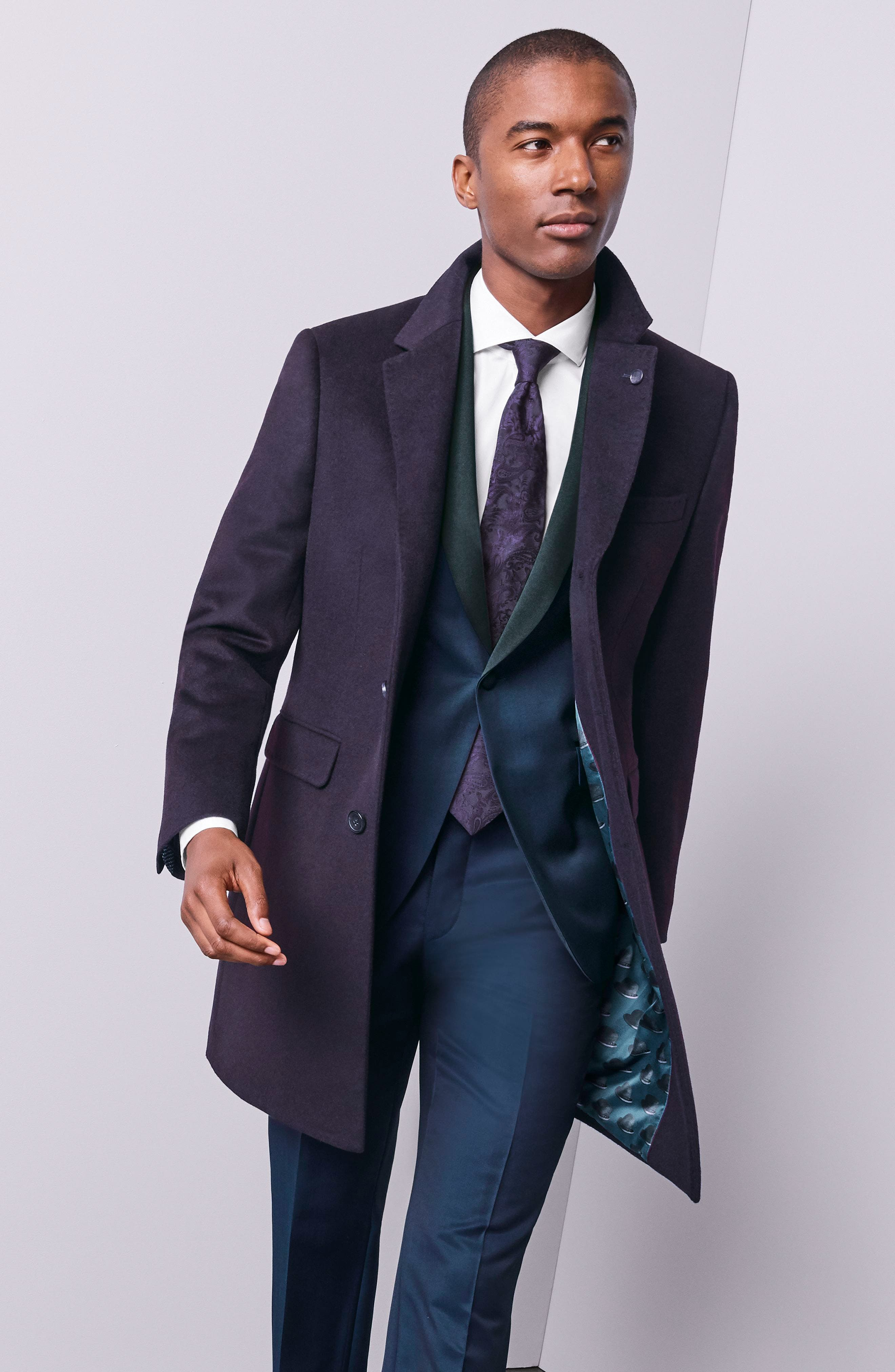 TED BAKER LONDON, Josh Trim Fit Navy Shawl Lapel Tuxedo, Alternate thumbnail 10, color, NAVY BLUE