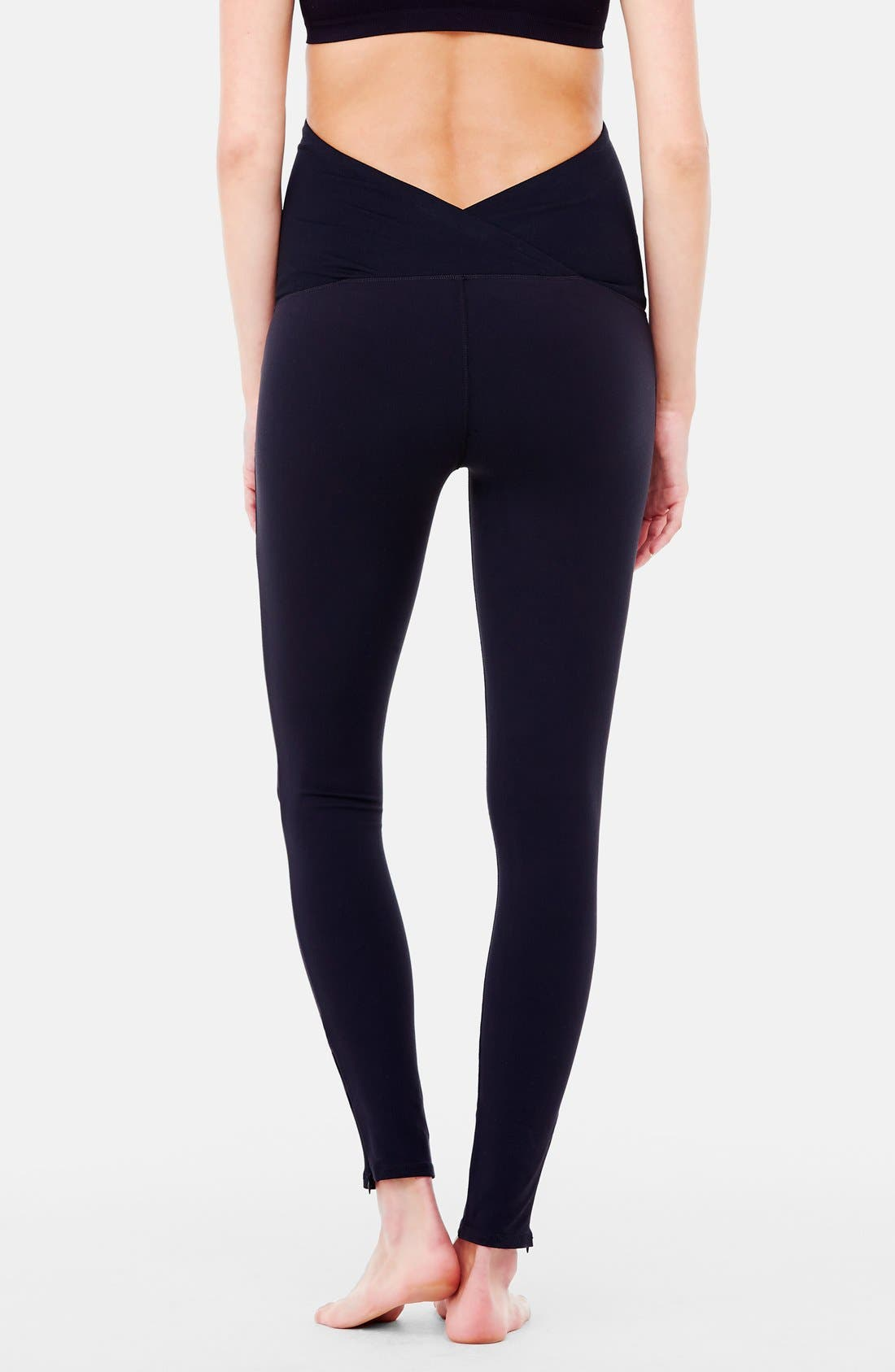 INGRID & ISABEL<SUP>®</SUP>, 'Active' Maternity Leggings with Crossover Panel, Alternate thumbnail 3, color, JET BLACK
