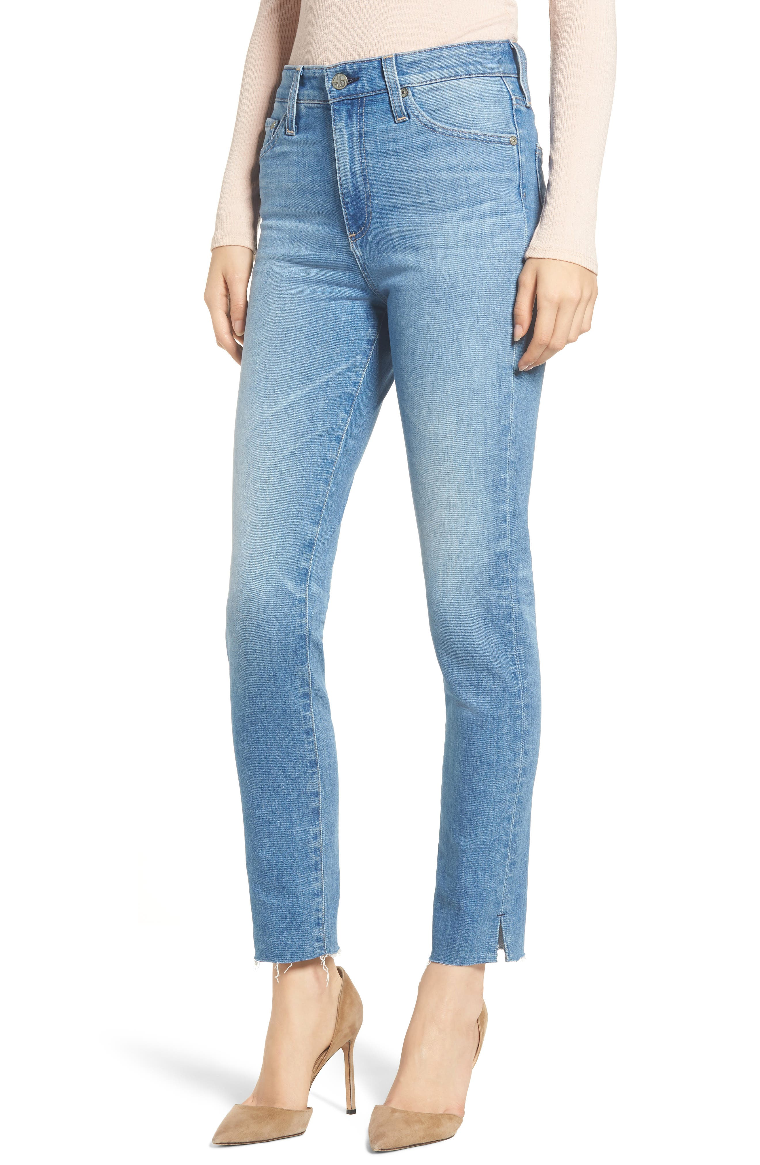 AG, Sophia Raw Hem High Waist Ankle Skinny Jeans, Main thumbnail 1, color, 467