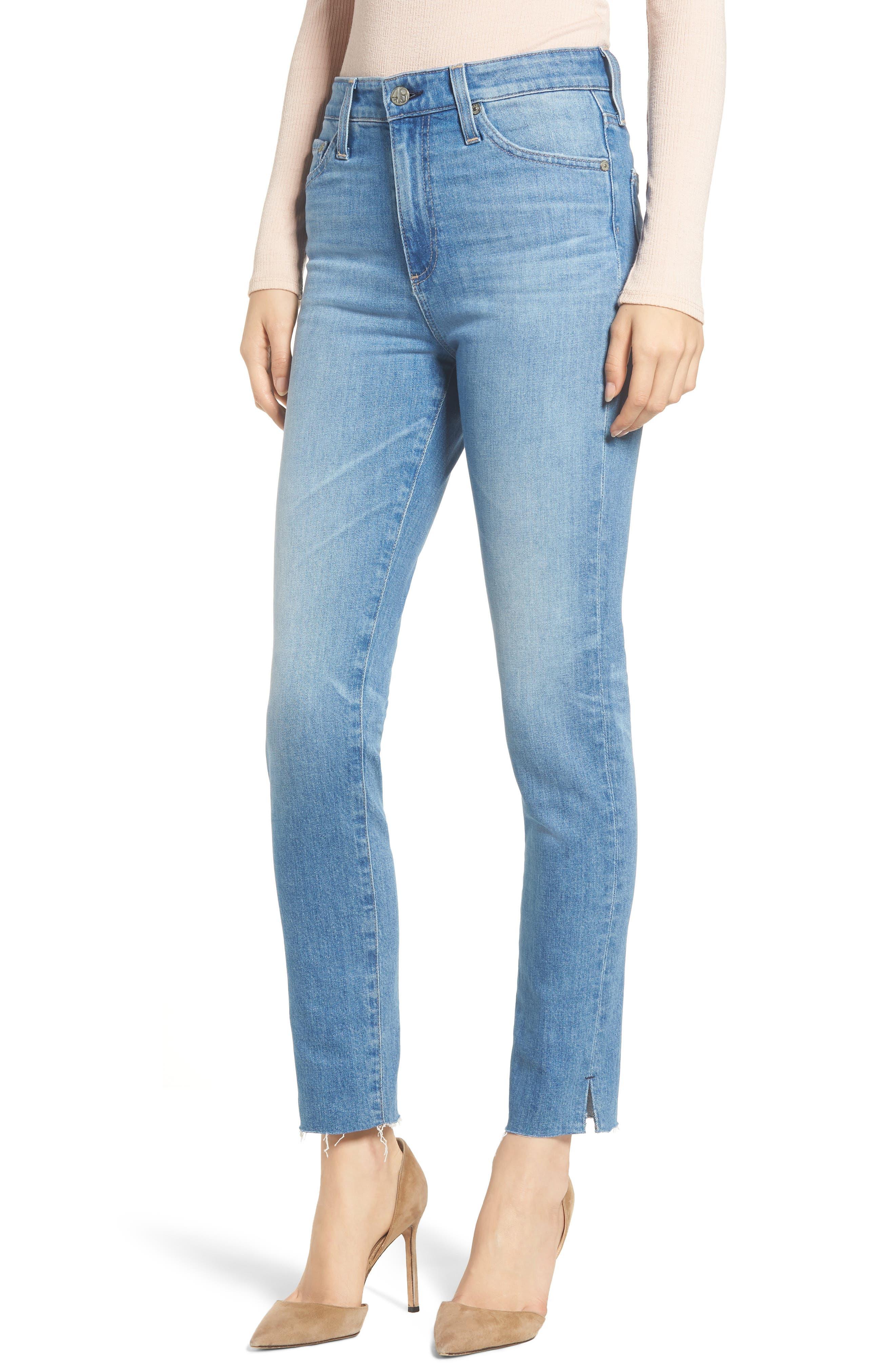 AG Sophia Raw Hem High Waist Ankle Skinny Jeans, Main, color, 467
