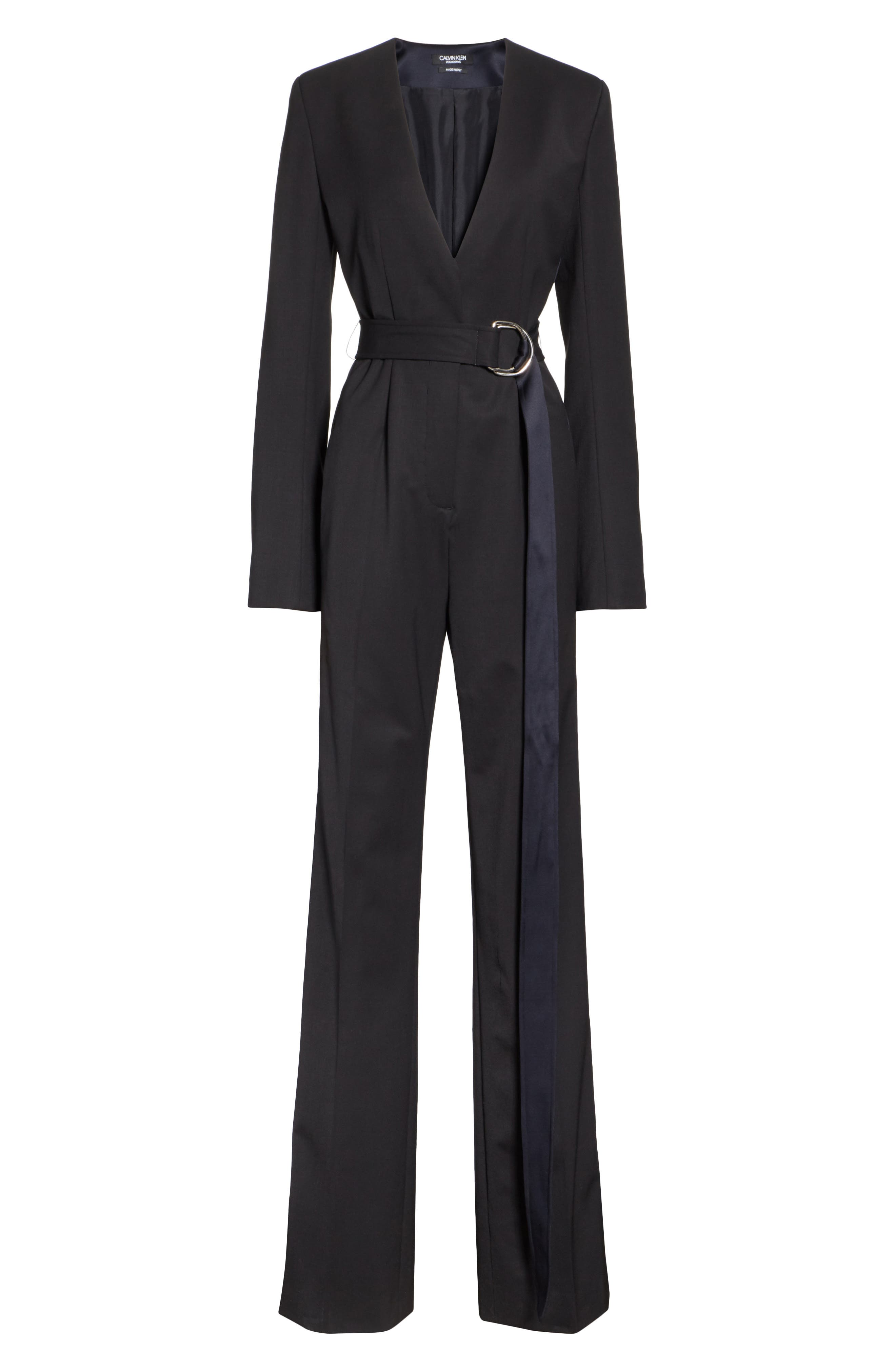 CALVIN KLEIN 205W39NYC, Side Stripe Wool Blend Jumpsuit, Alternate thumbnail 7, color, BLACK DARK NAVY