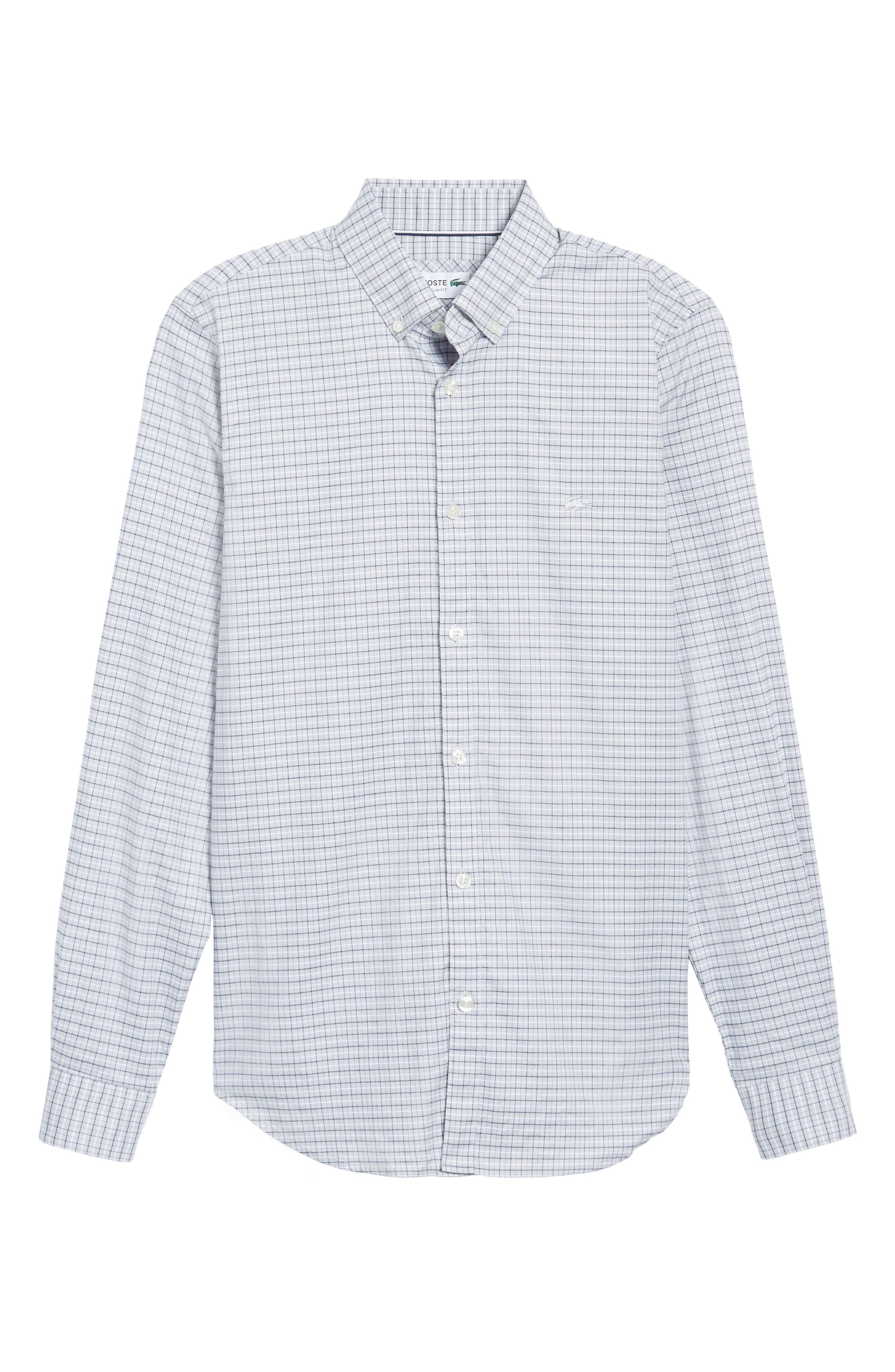 LACOSTE, Slim Fit Plaid Shirt, Alternate thumbnail 6, color, 061