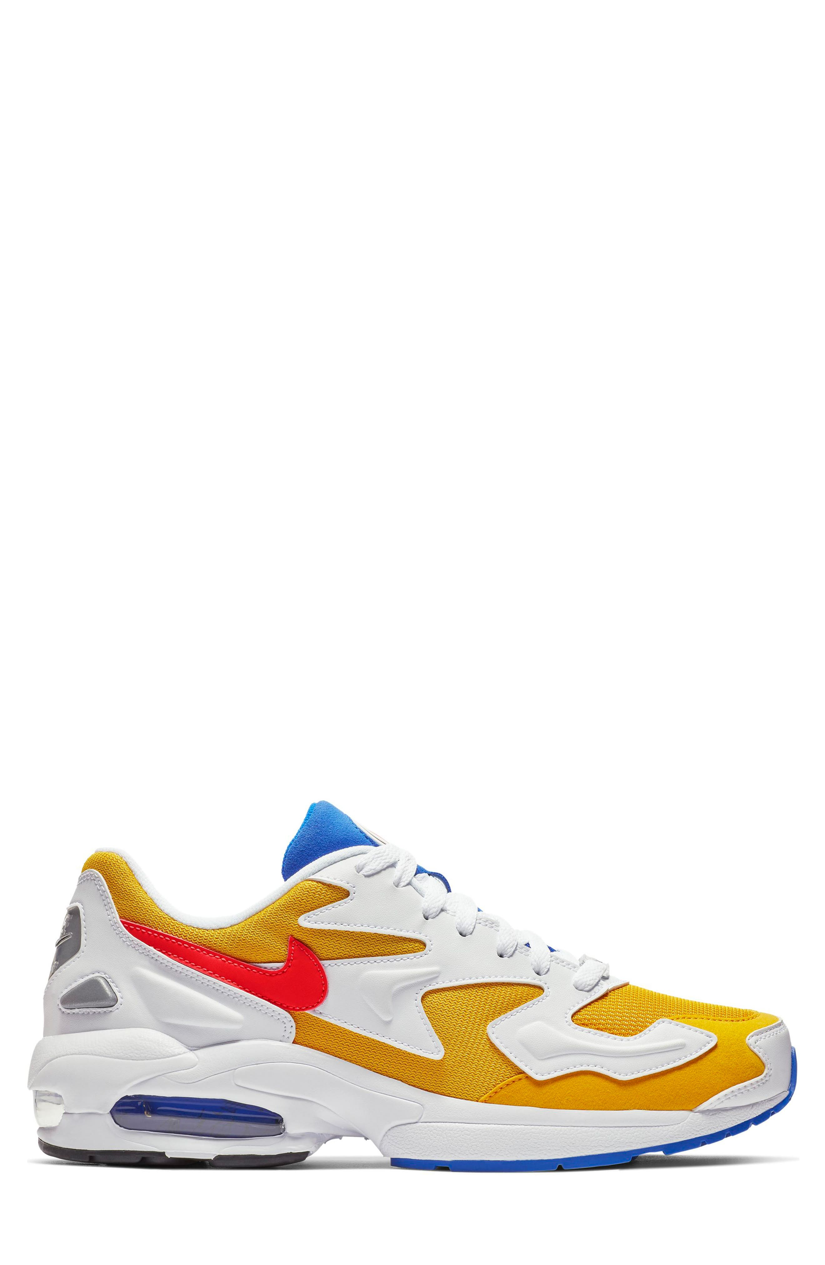 NIKE, Air Max2 Light Sneaker, Alternate thumbnail 3, color, GOLD CRIMSON/ BLUE