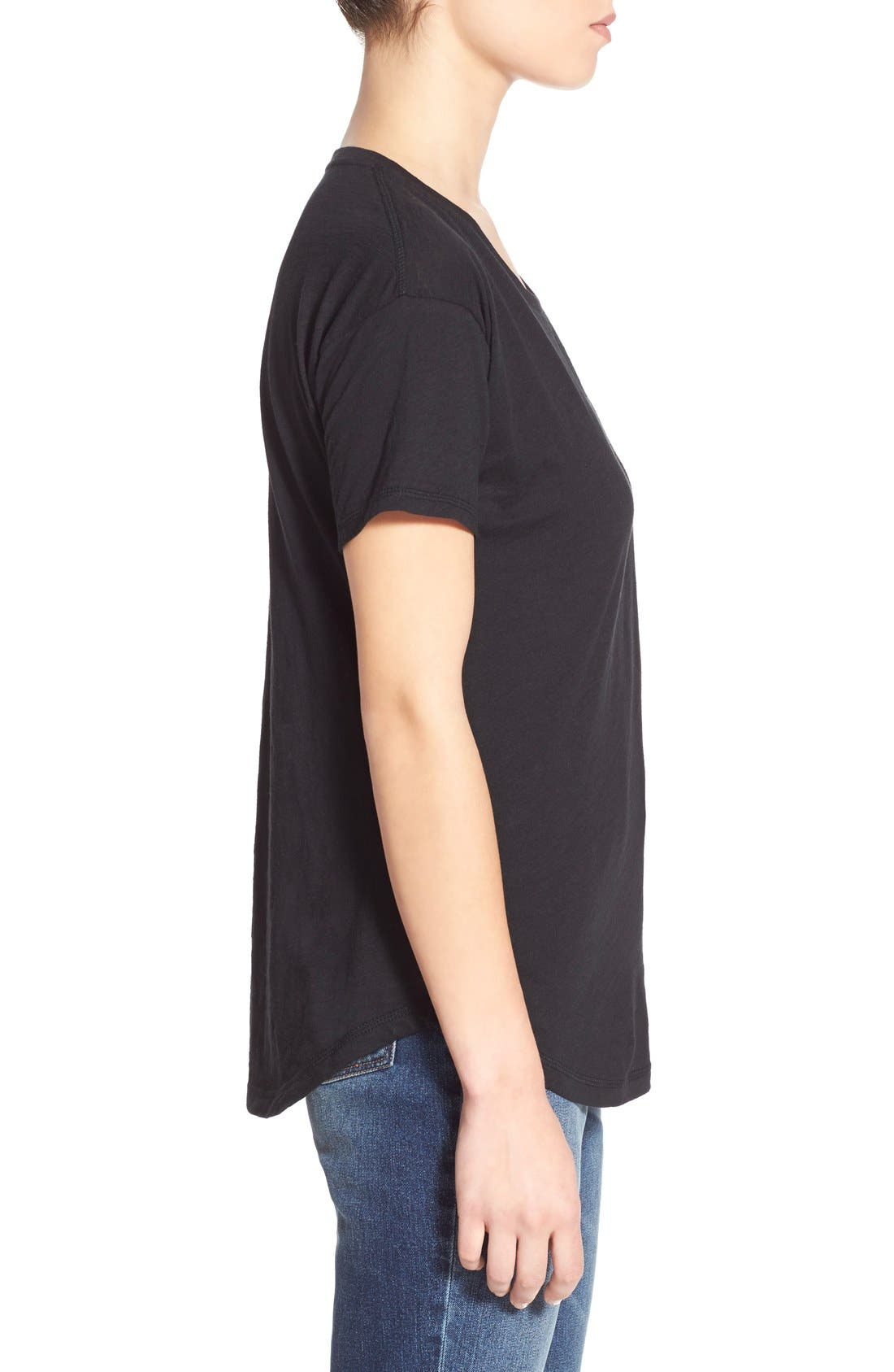 MADEWELL, 'Whisper' Cotton Crewneck Tee, Alternate thumbnail 6, color, TRUE BLACK