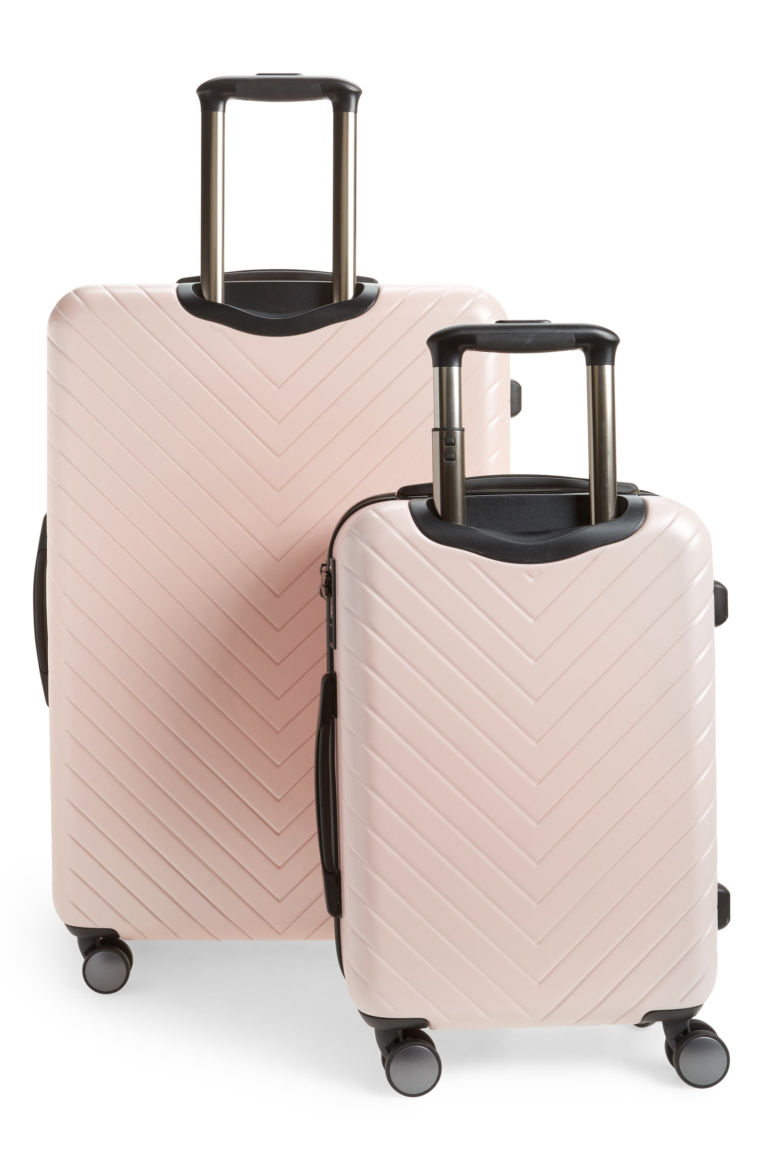 NORDSTROM, Chevron 29-Inch & 18-Inch Spinner Luggage Set, Alternate thumbnail 4, color, PINK HERO