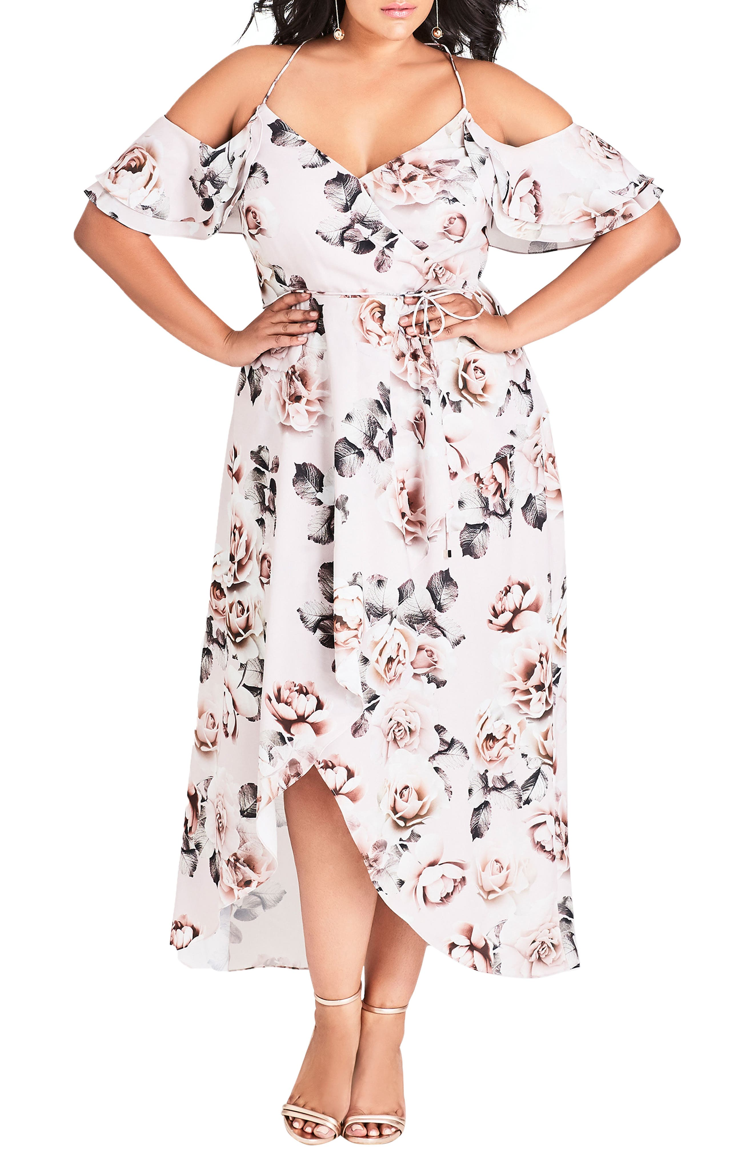 CITY CHIC, Champagne Rose Cold Shoulder Maxi Dress, Main thumbnail 1, color, CHAMPAGNE ROSE