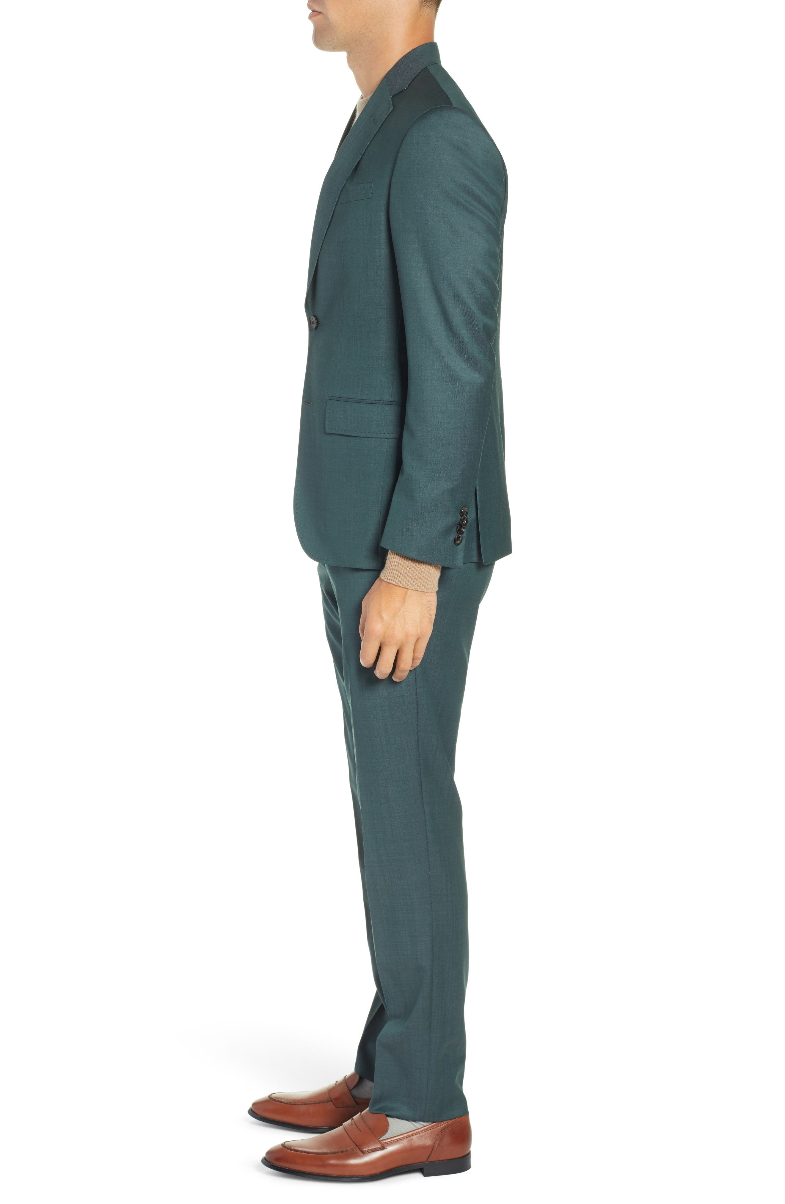 TED BAKER LONDON, Roger Slim Fit Solid Wool Suit, Alternate thumbnail 3, color, GREEN