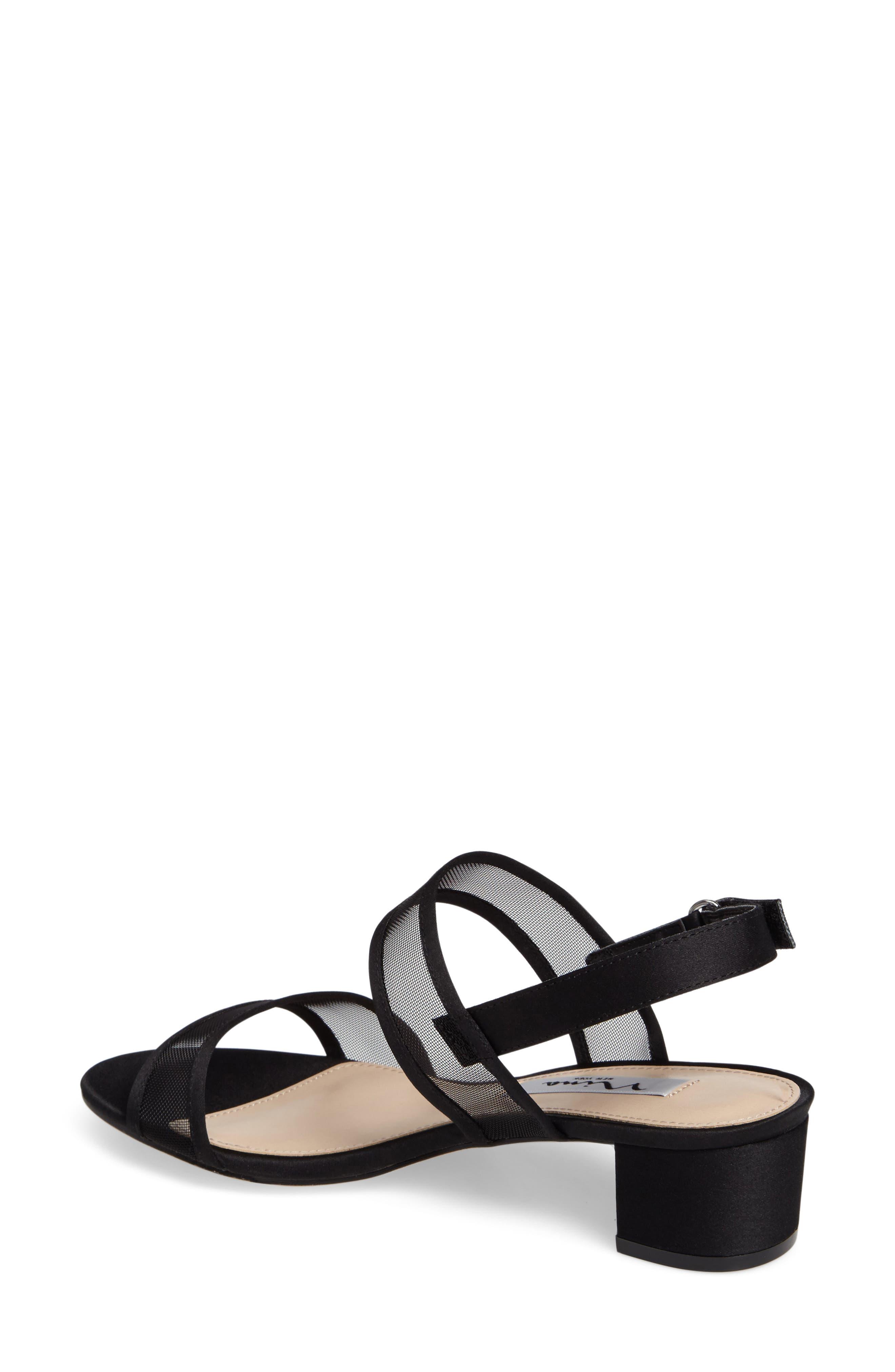 NINA, Ganice Mesh Strap Sandal, Alternate thumbnail 2, color, BLACK SATIN