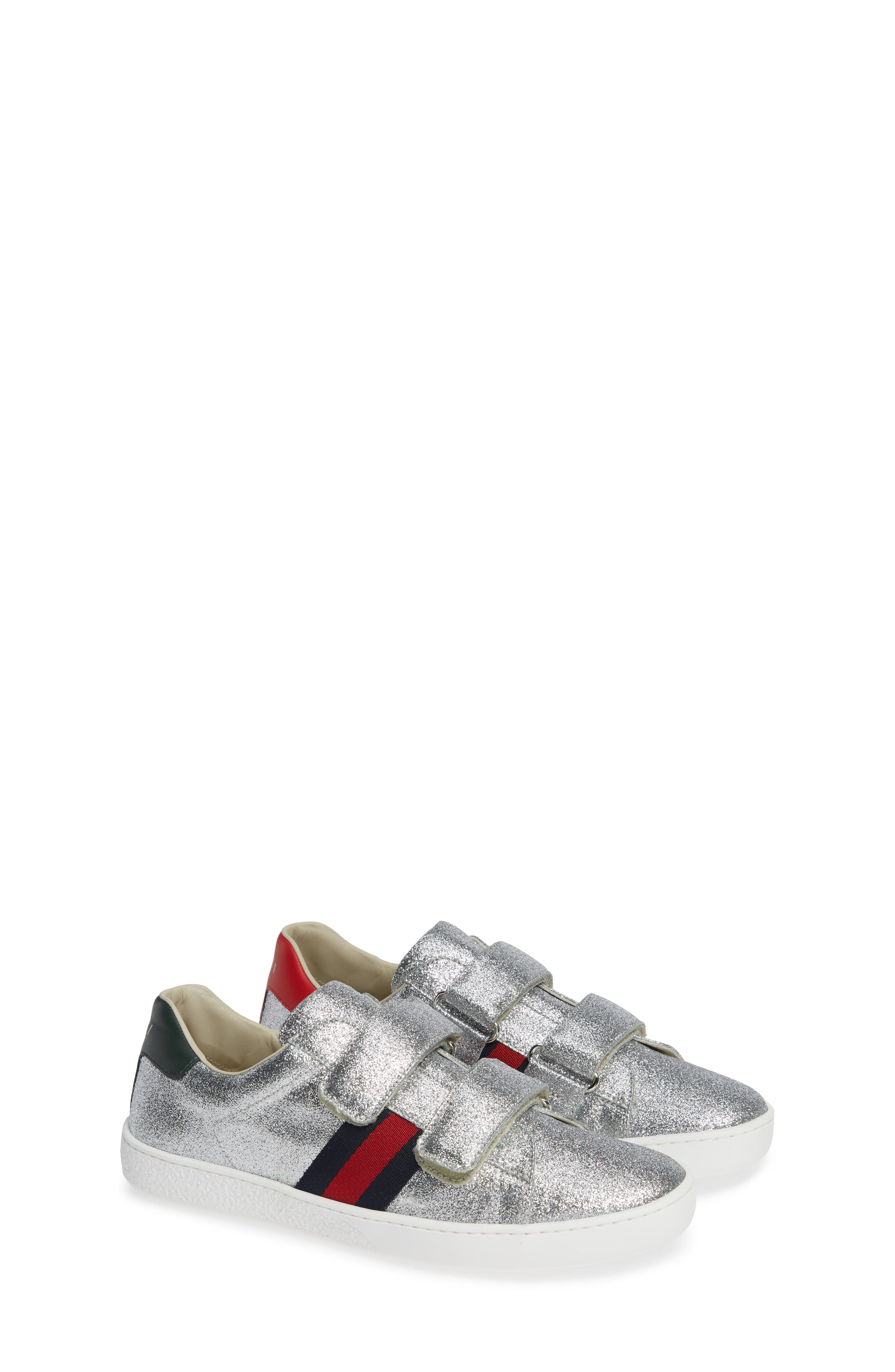 GUCCI, New Ace Sneaker, Alternate thumbnail 2, color, SILVER GLITTER