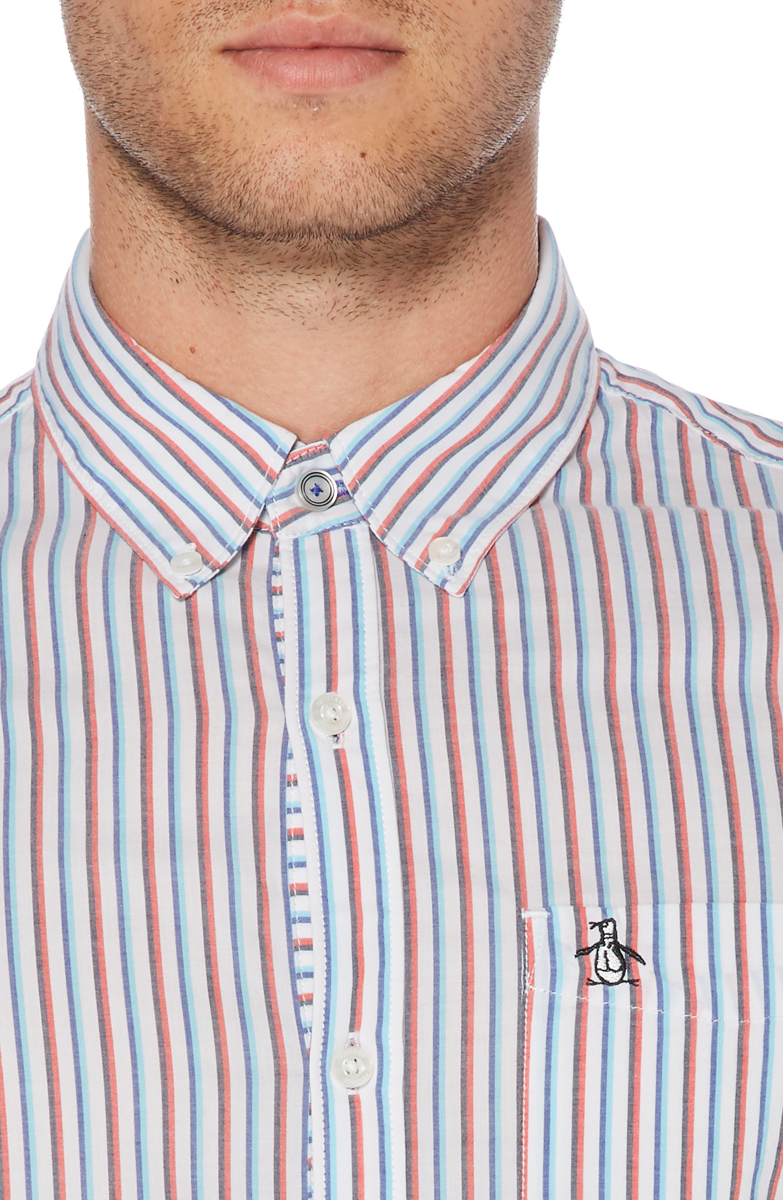 ORIGINAL PENGUIN, Hairline Stripe Sport Shirt, Alternate thumbnail 2, color, BRIGHT WHITE